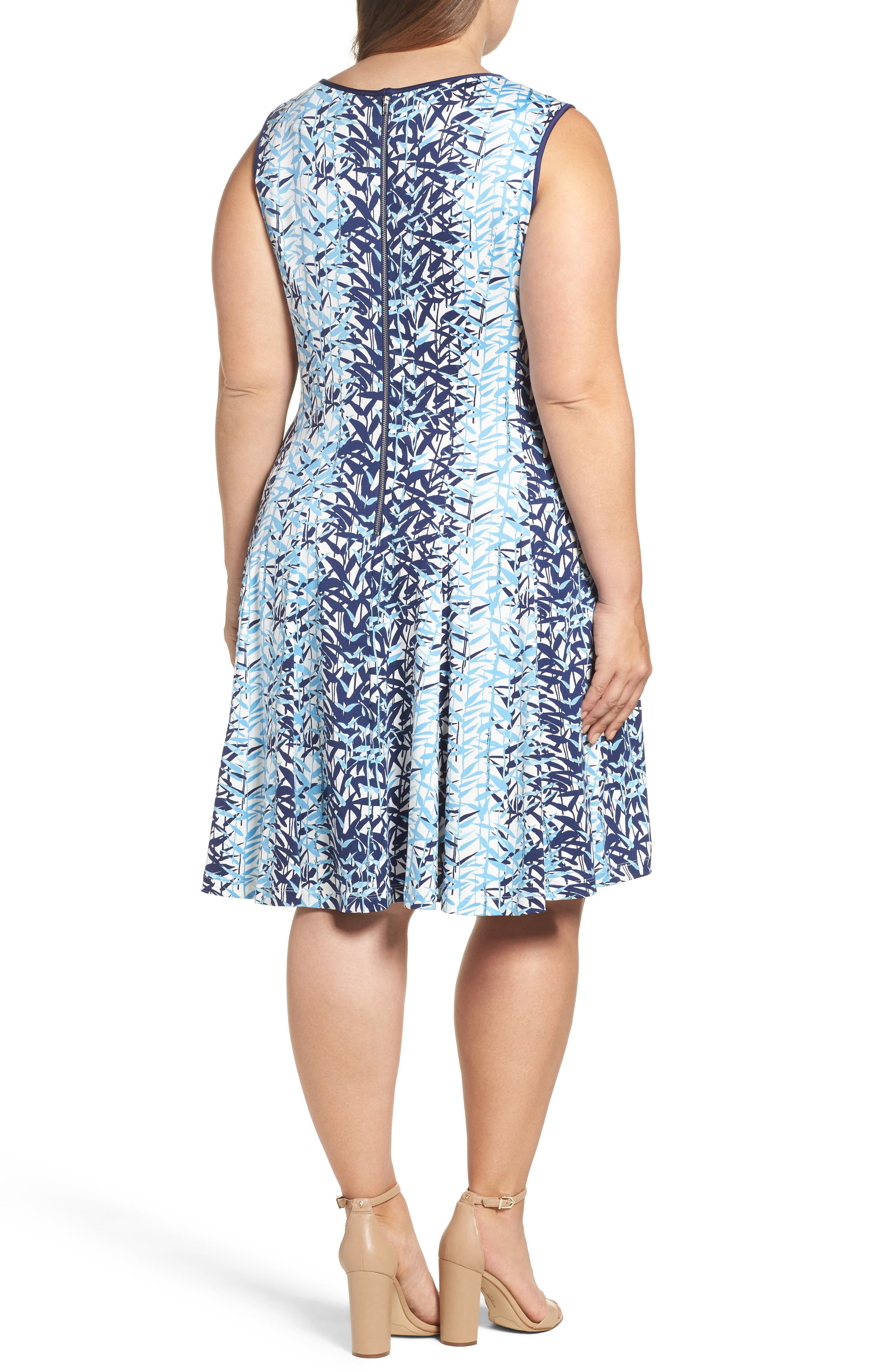Abstract Print Jersey Fit & Flare Dress,                             Alternate thumbnail 2, color,                             Navy Multi