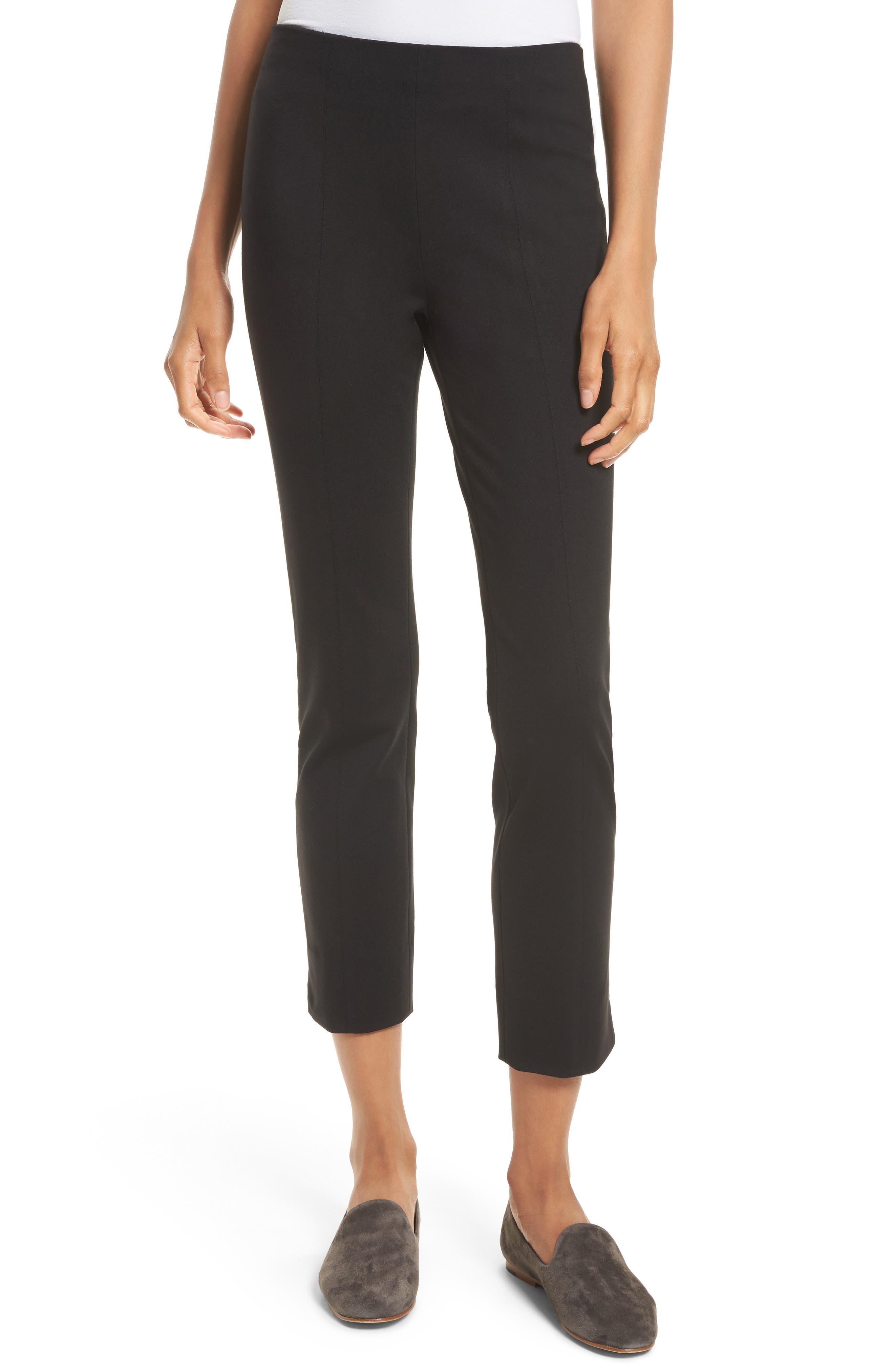 Crop Stretch Knit Trousers,                         Main,                         color, Black