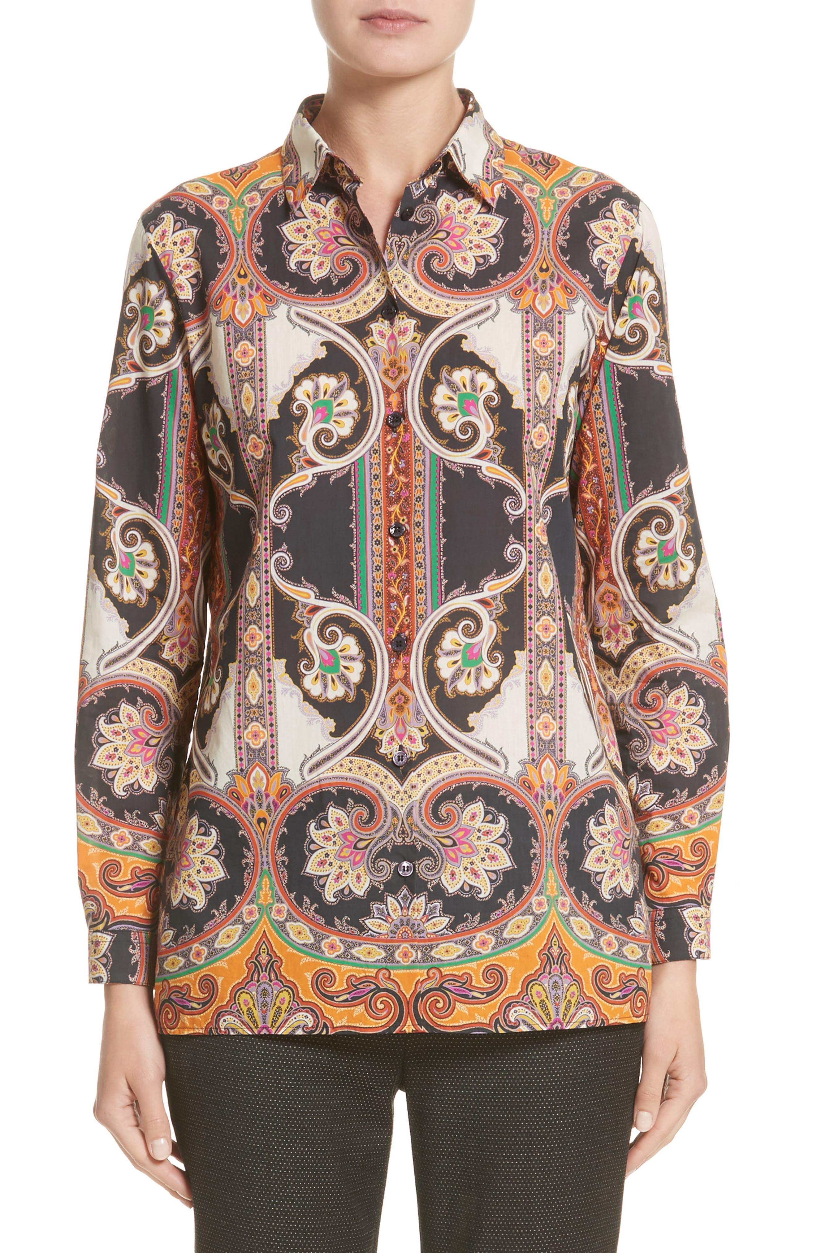 Etro Suzani Print Cotton Shirt