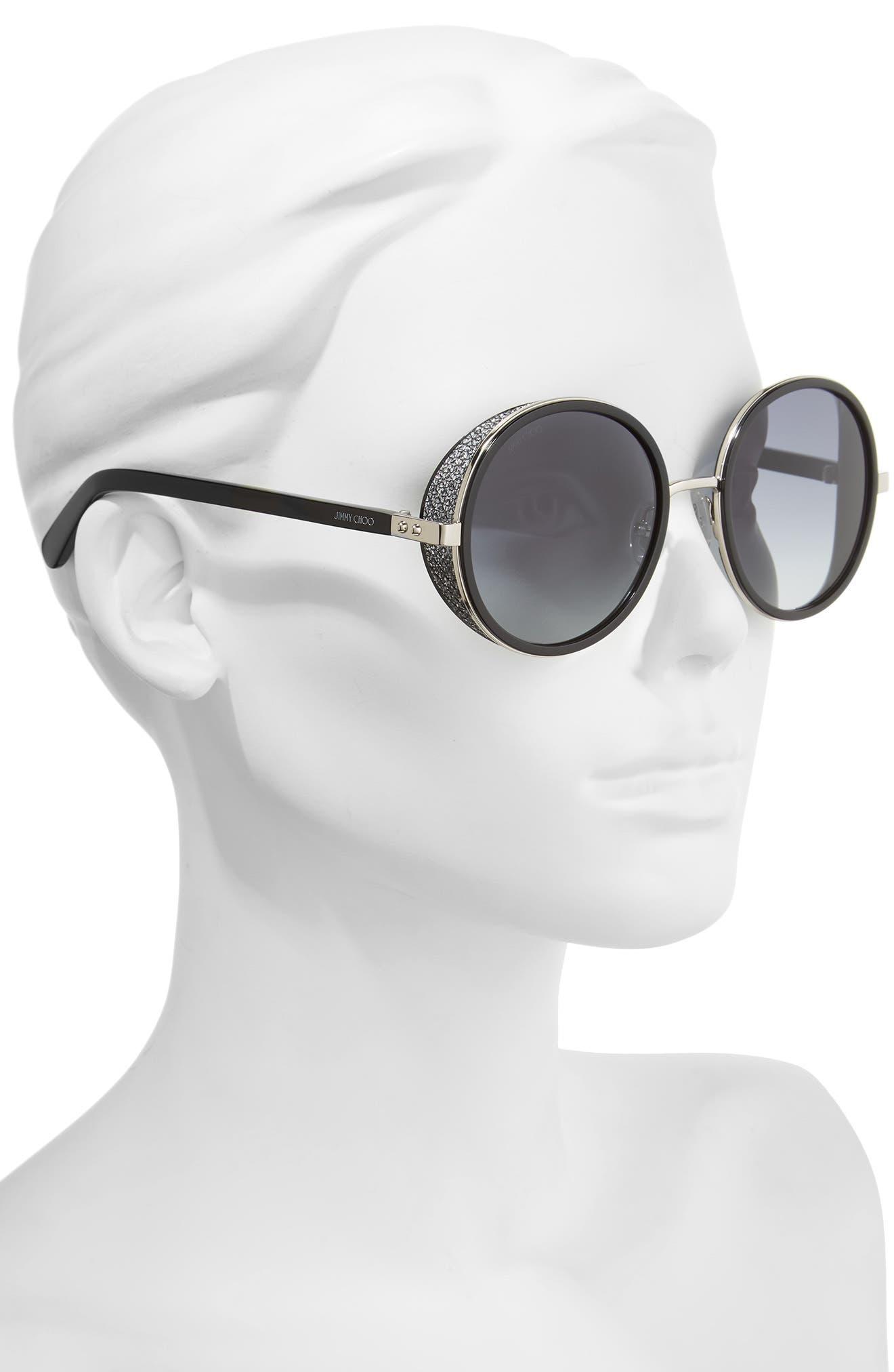 Andiens 54mm Round Sunglasses,                             Alternate thumbnail 2, color,                             Palladium/ Black