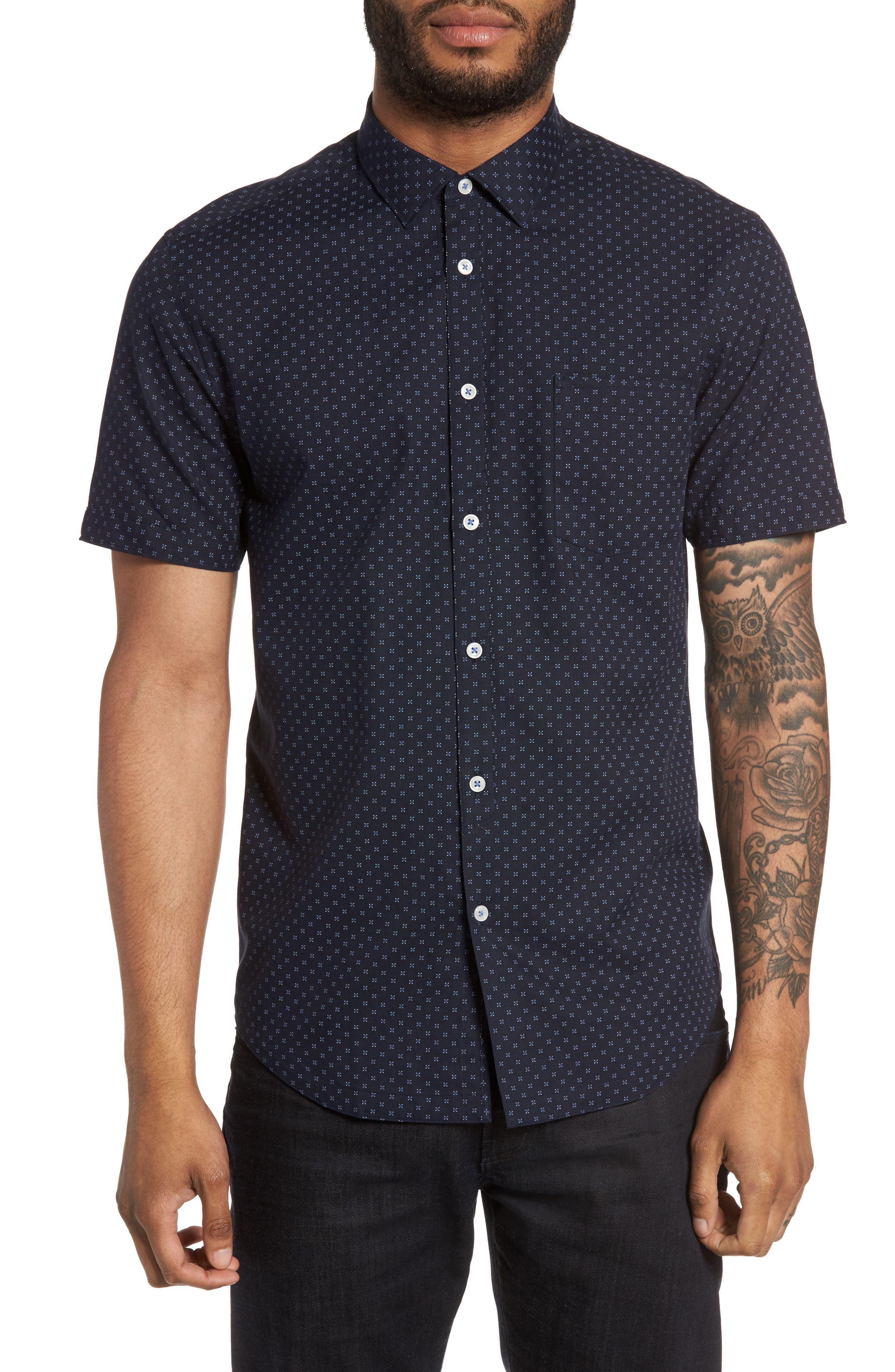 Good Man Brand On Point Trim Fit Square Print Sport Shirt