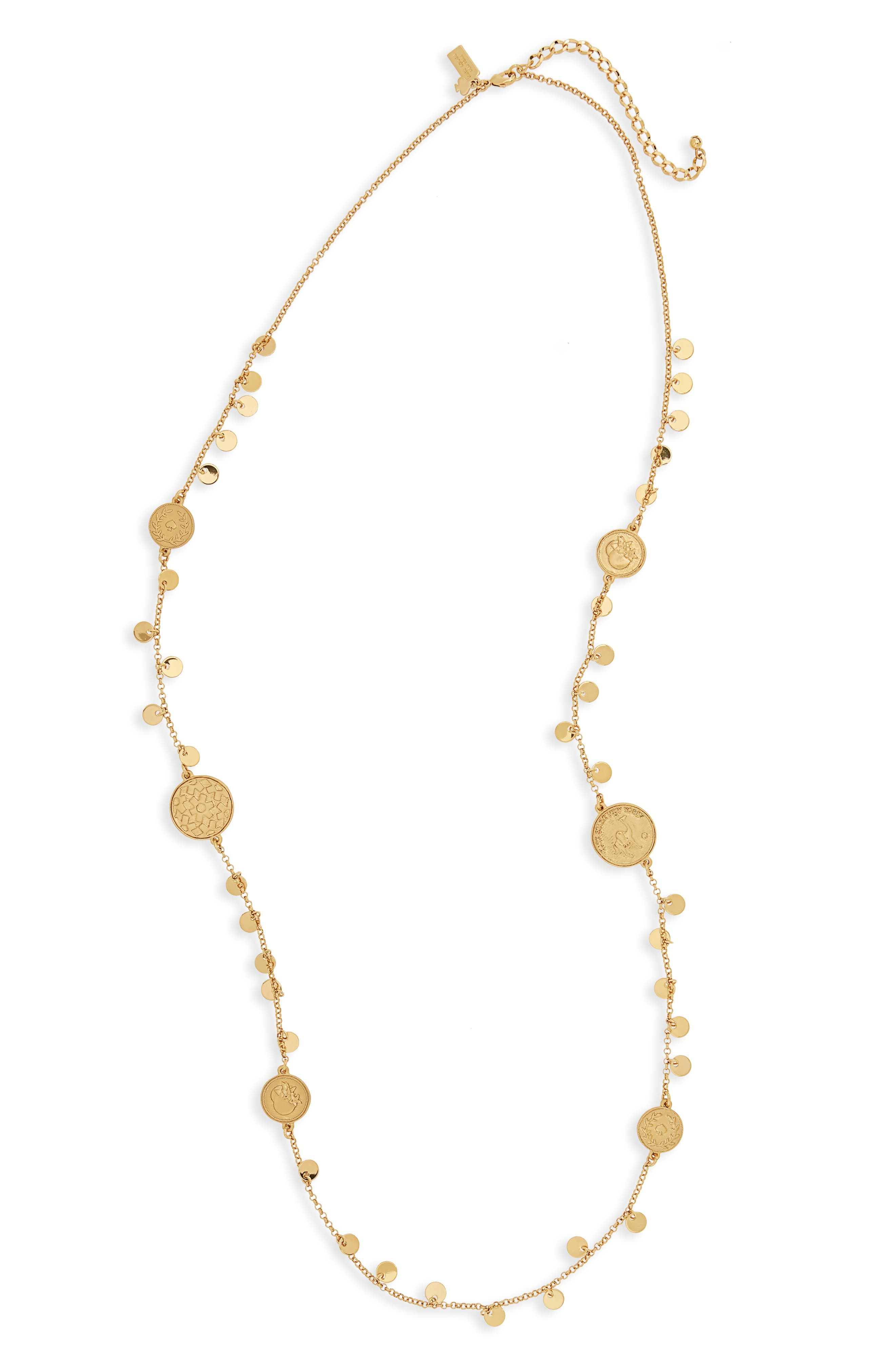 flip a coin scatter necklace,                             Main thumbnail 1, color,                             Gold