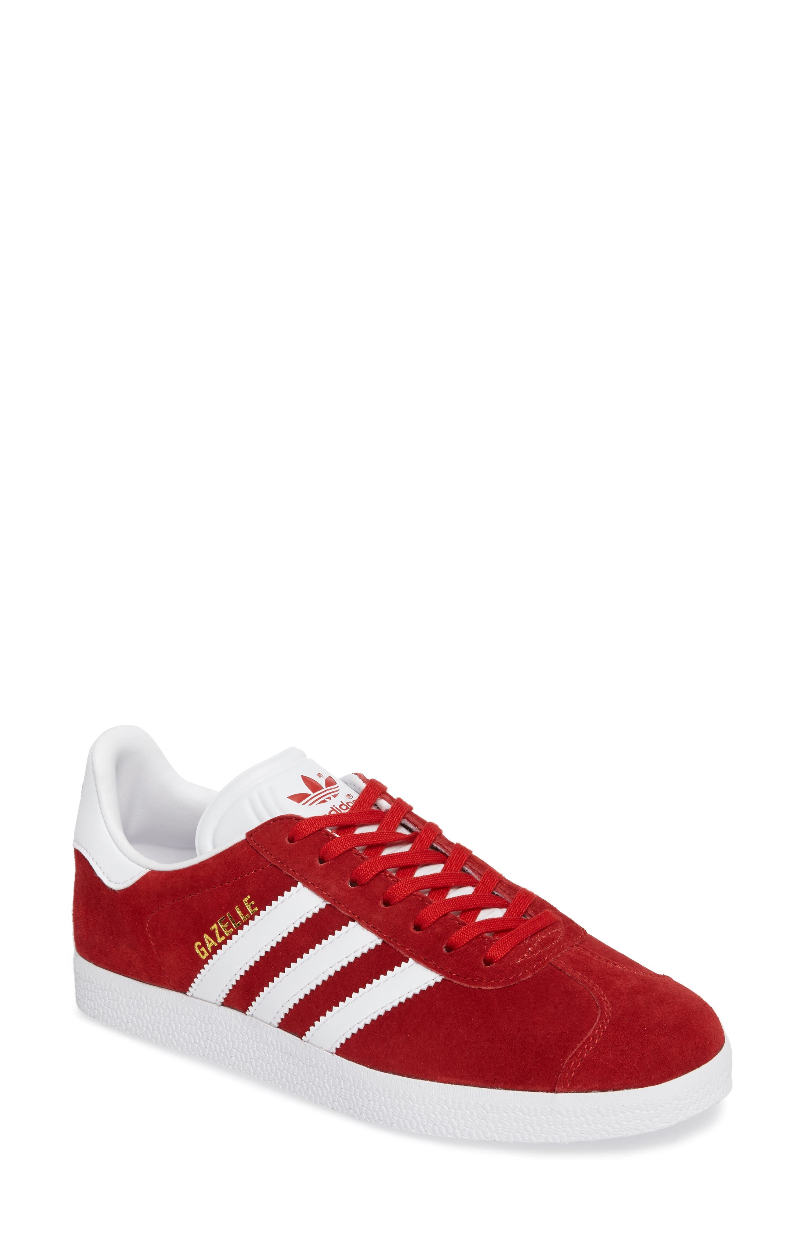 quality design 571db 6d5a2 Adidas Originals Gazelle Sneaker In Scarlet White Gold Metallic