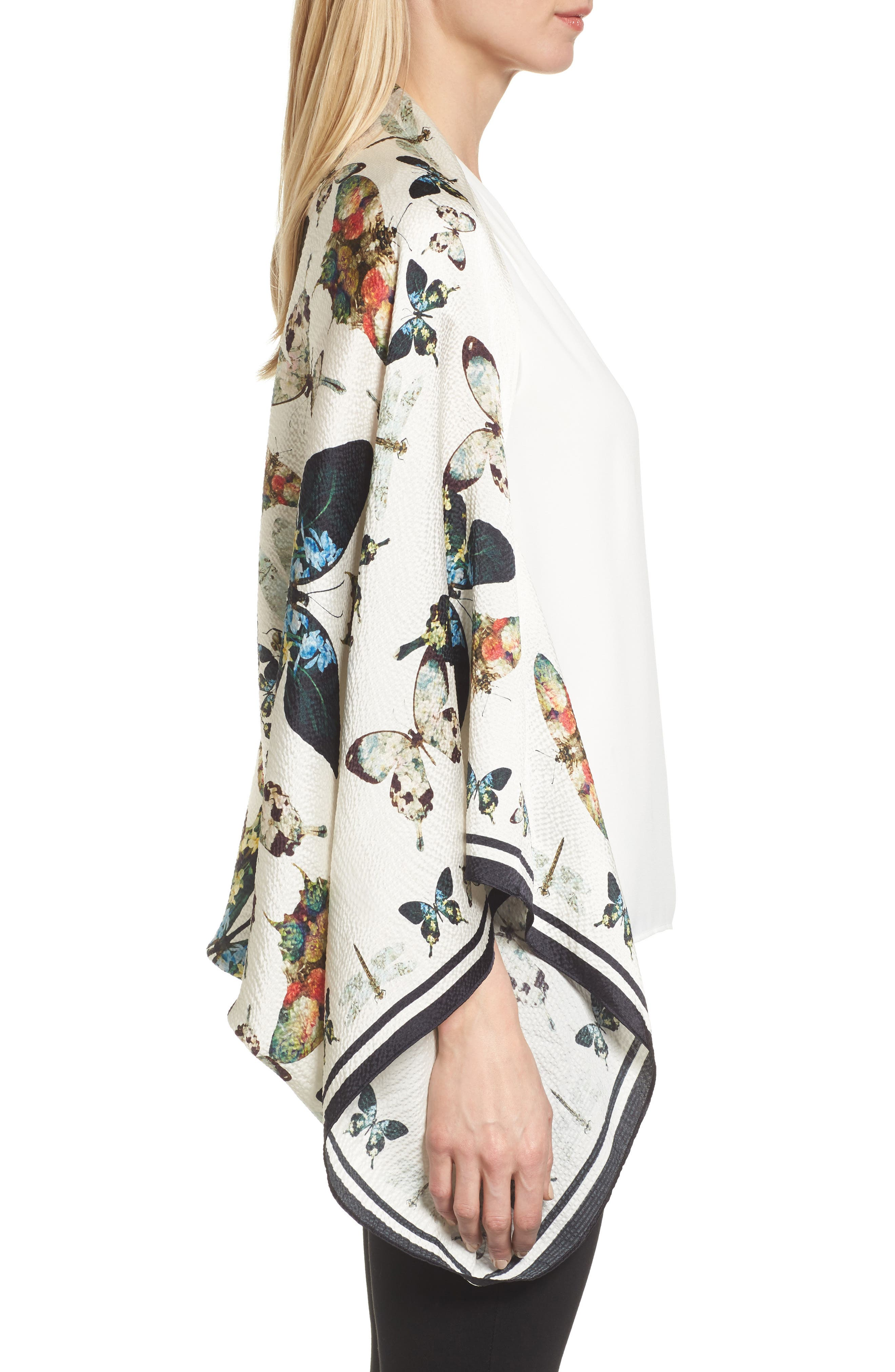 Butterfly Kaleidoscope Silk Cape Scarf,                             Alternate thumbnail 3, color,                             White