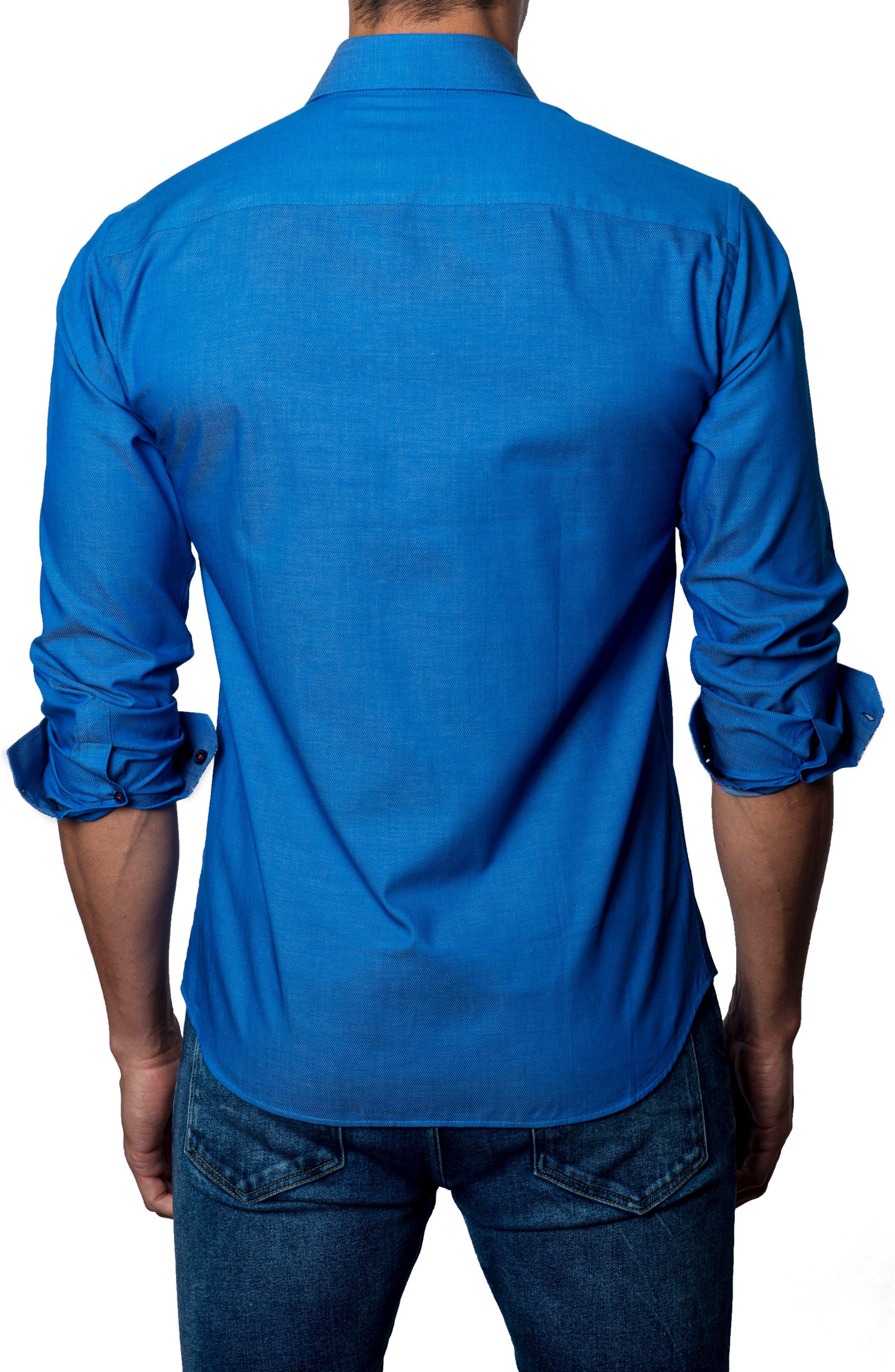 Trim Fit Sport Shirt,                             Alternate thumbnail 2, color,                             Dark Blue