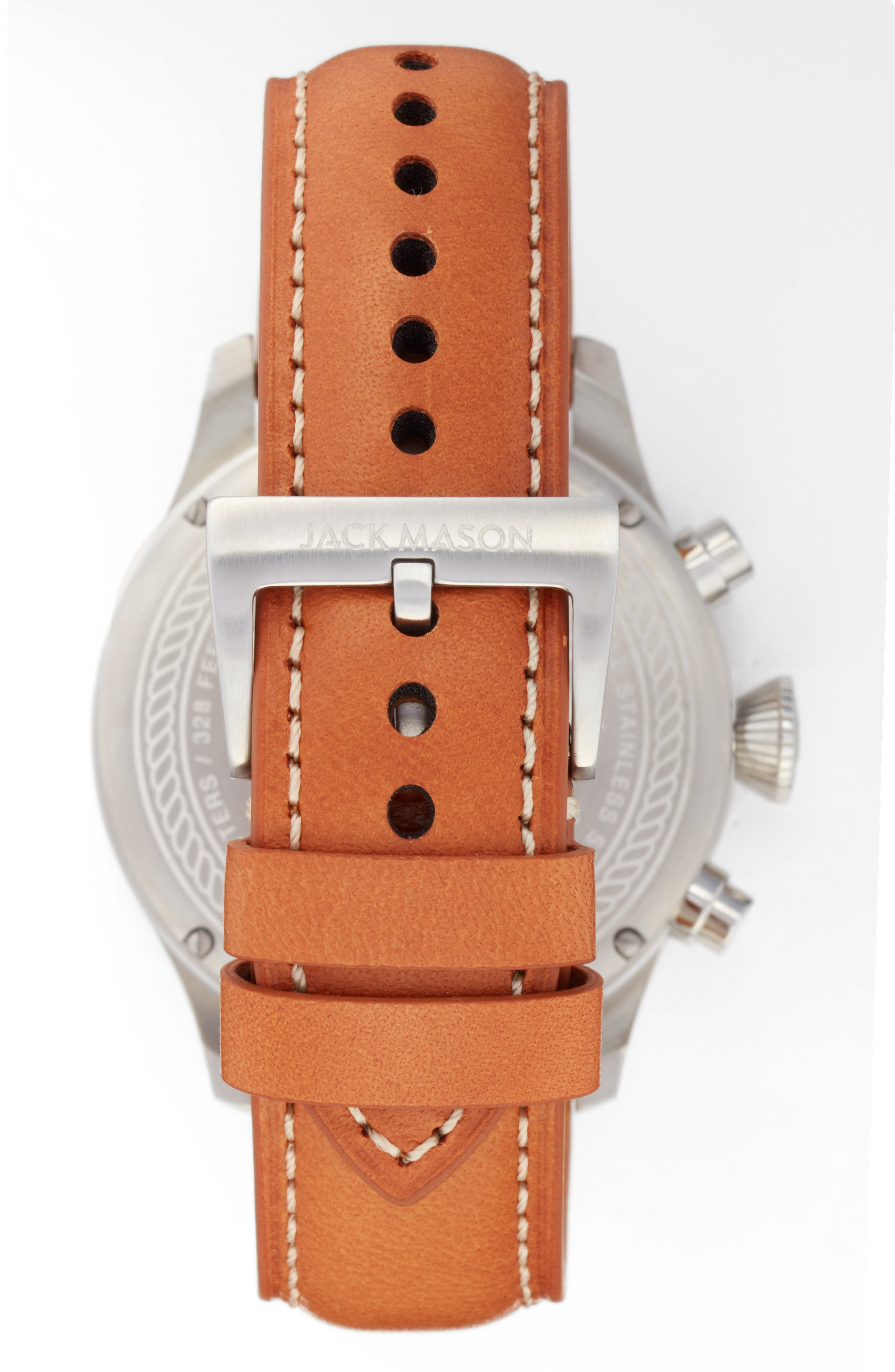 Aviation Chronograph Leather Strap Watch, 45mm,                             Alternate thumbnail 2, color,                             White/ Tan