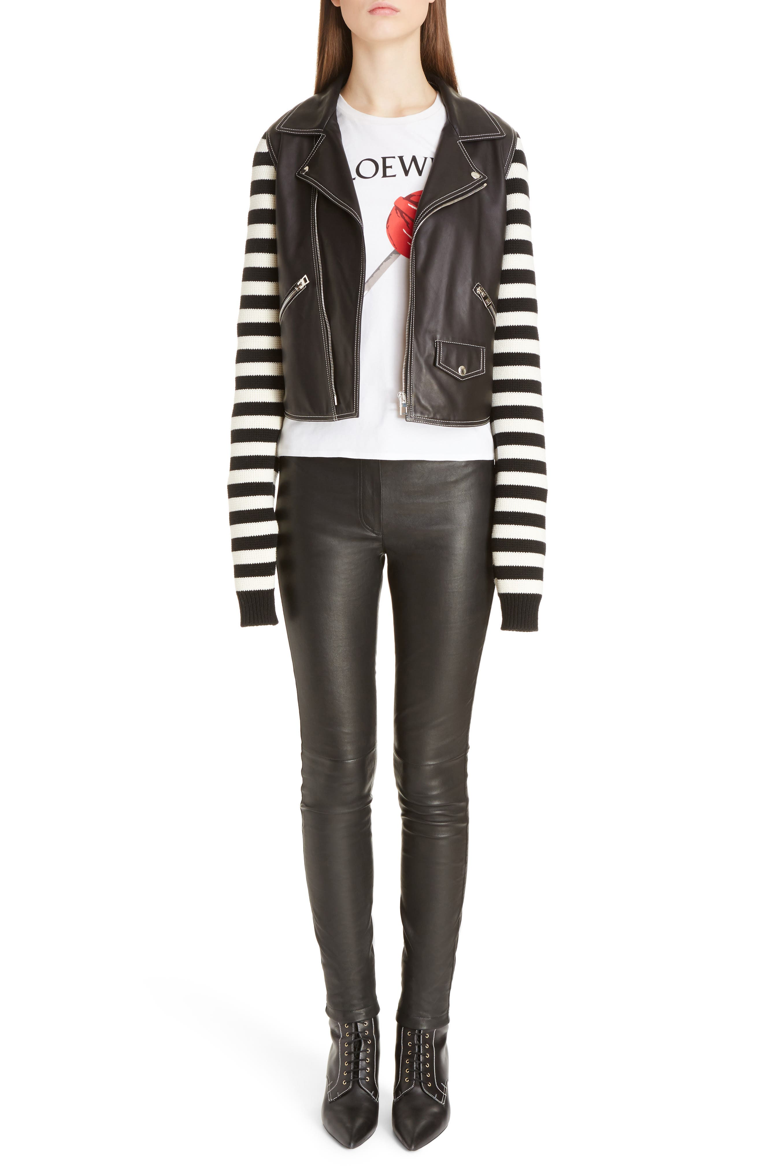 Alternate Image 6  - Loewe Stripe Knit & Leather Biker Jacket