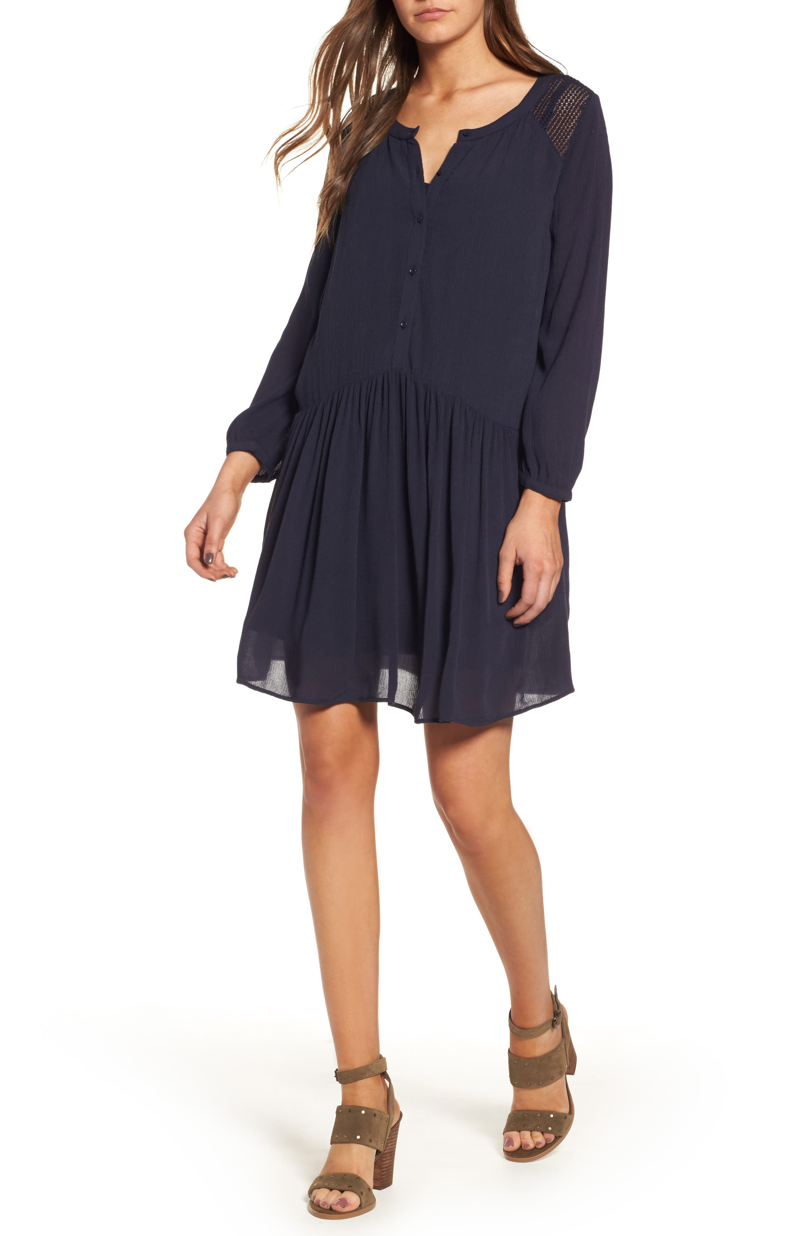 Button Front Dress,                         Main,                         color, Navy Night