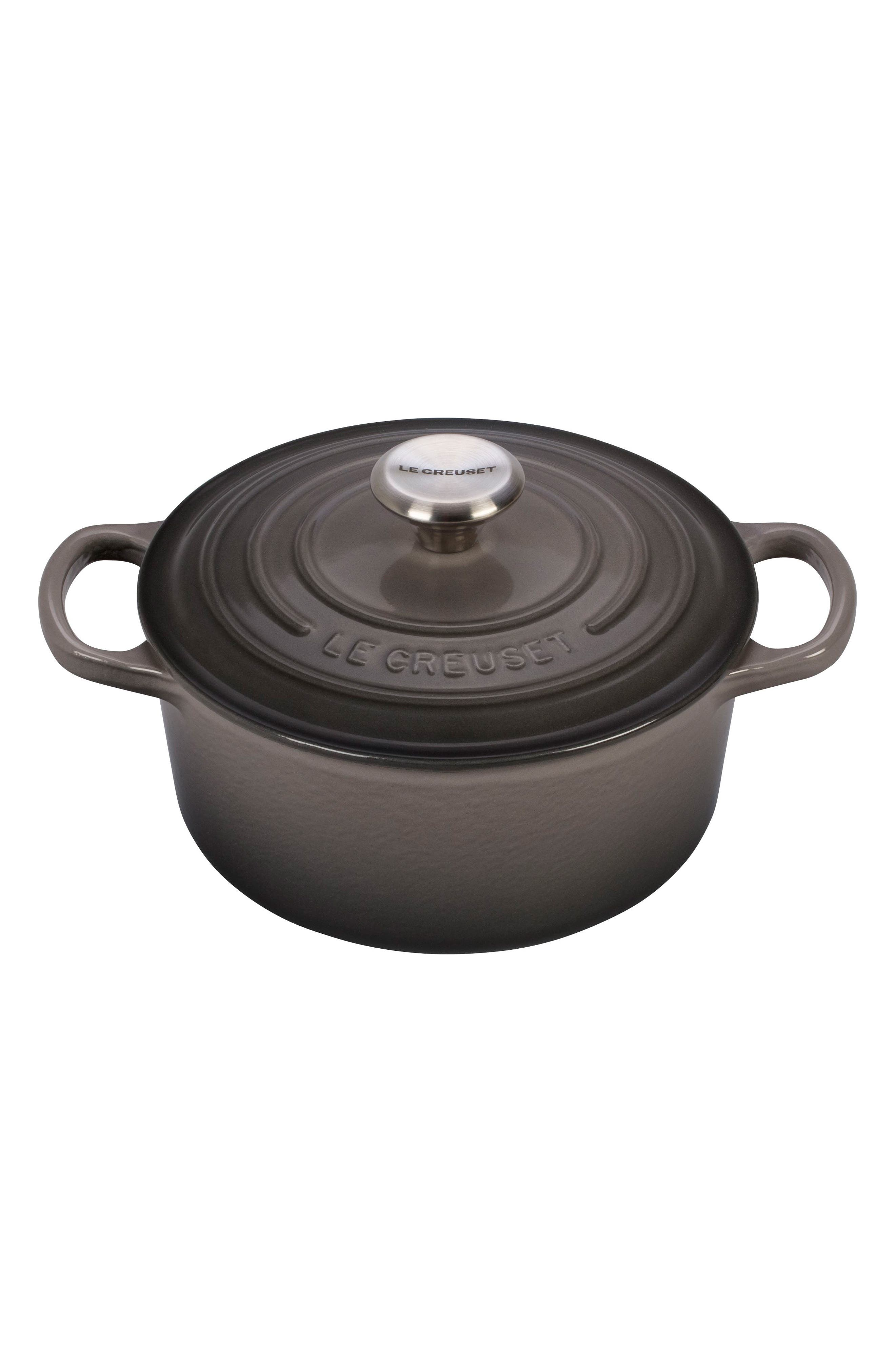 Signature 2-Quart Oval Enamel Cast Iron French/Dutch Oven,                         Main,                         color, Oyster