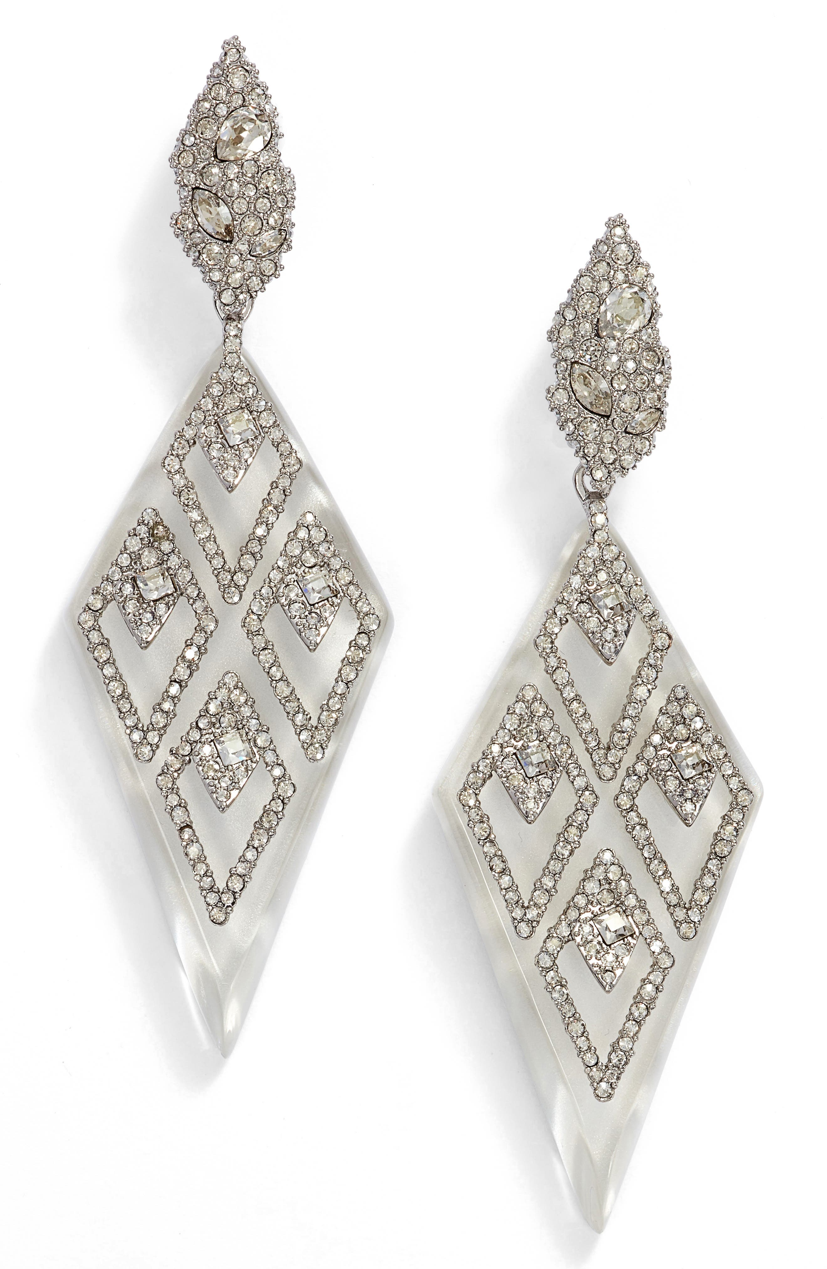 Spike Clip-On Drop Earrings,                         Main,                         color, Silver