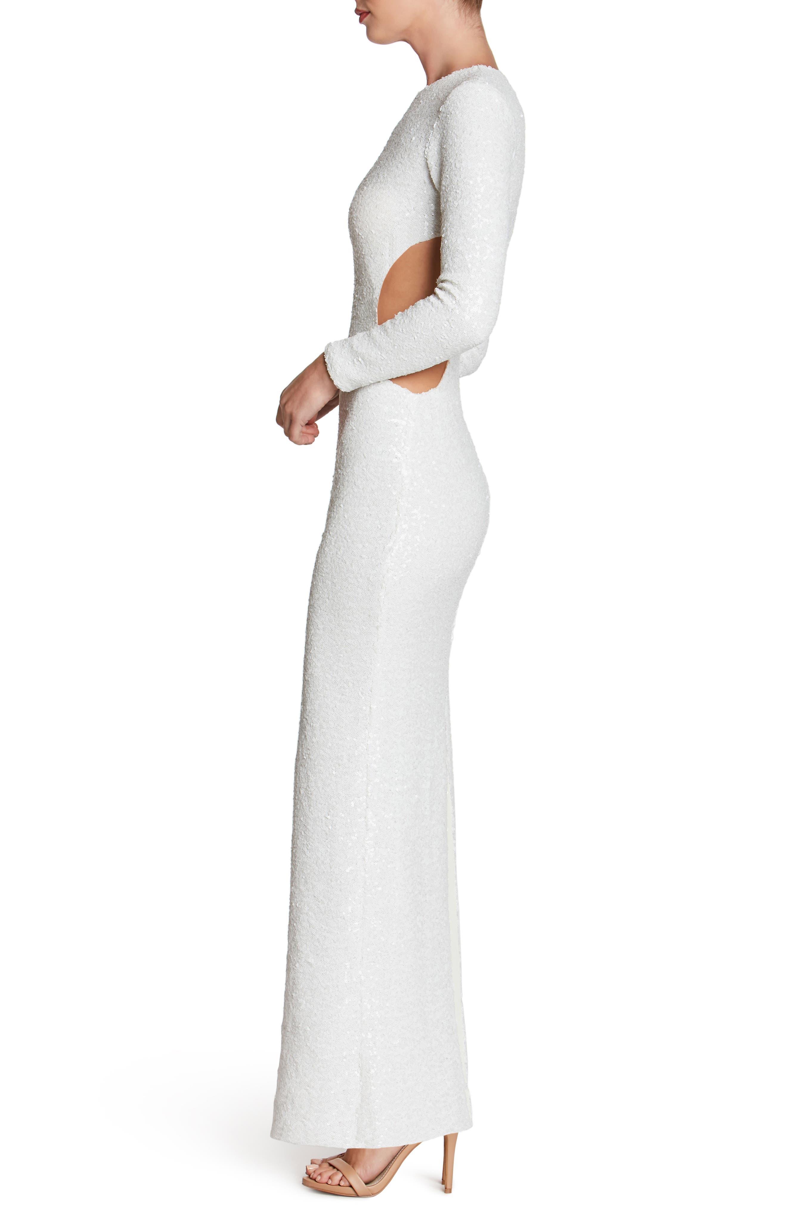 Lara Body-Con Gown,                             Alternate thumbnail 3, color,                             White