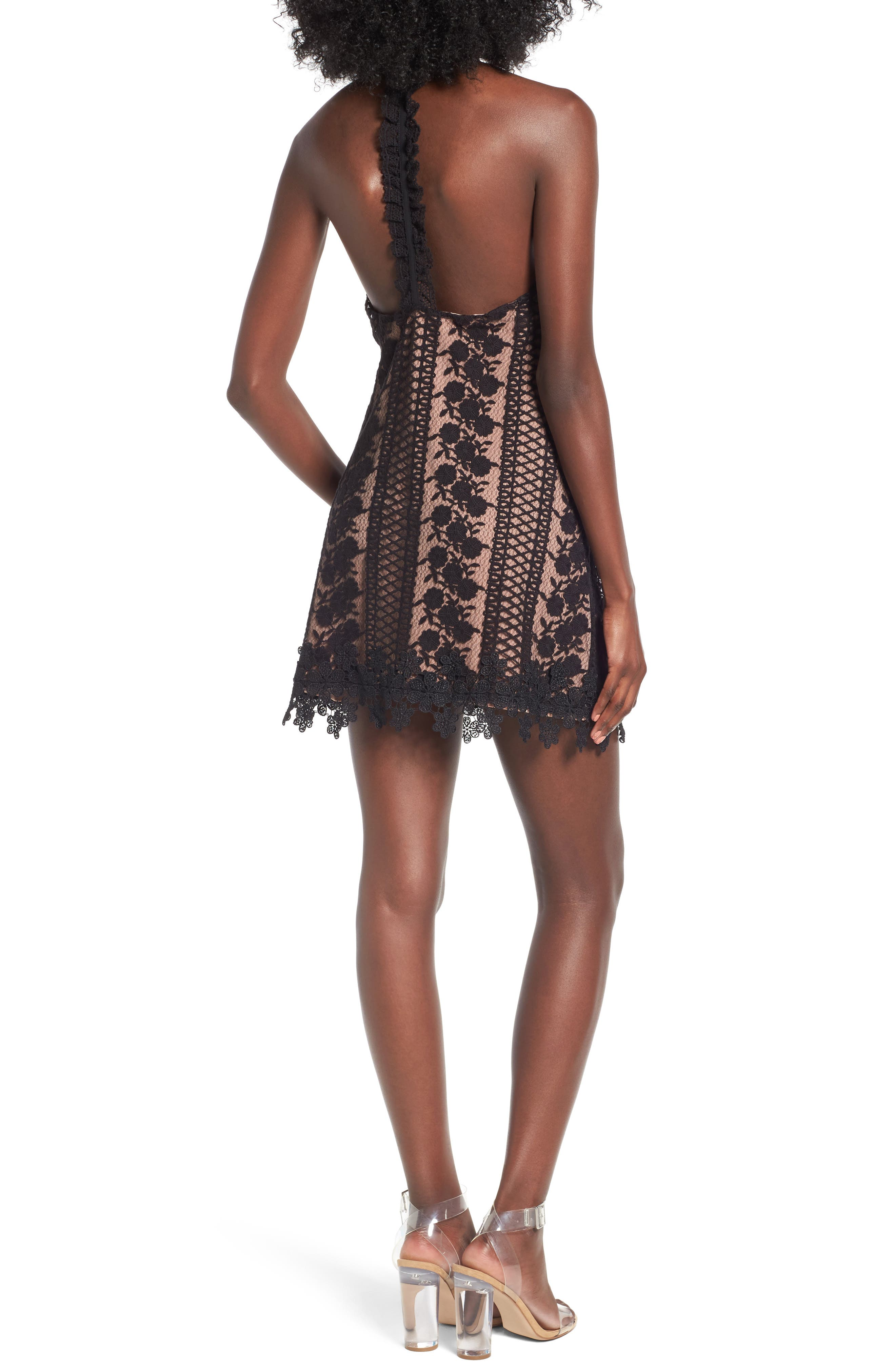 Acadia Lace Slipdress,                             Alternate thumbnail 3, color,                             Black