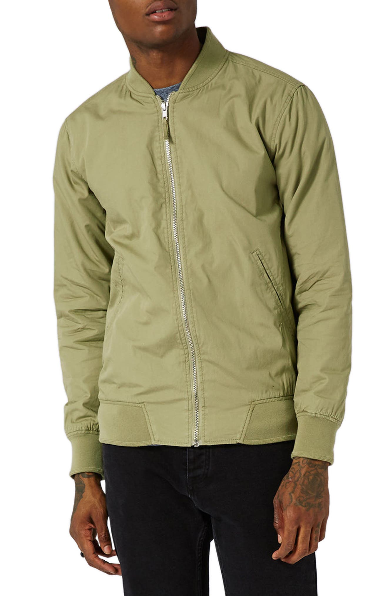Classic Bomber Jacket,                         Main,                         color, Olive