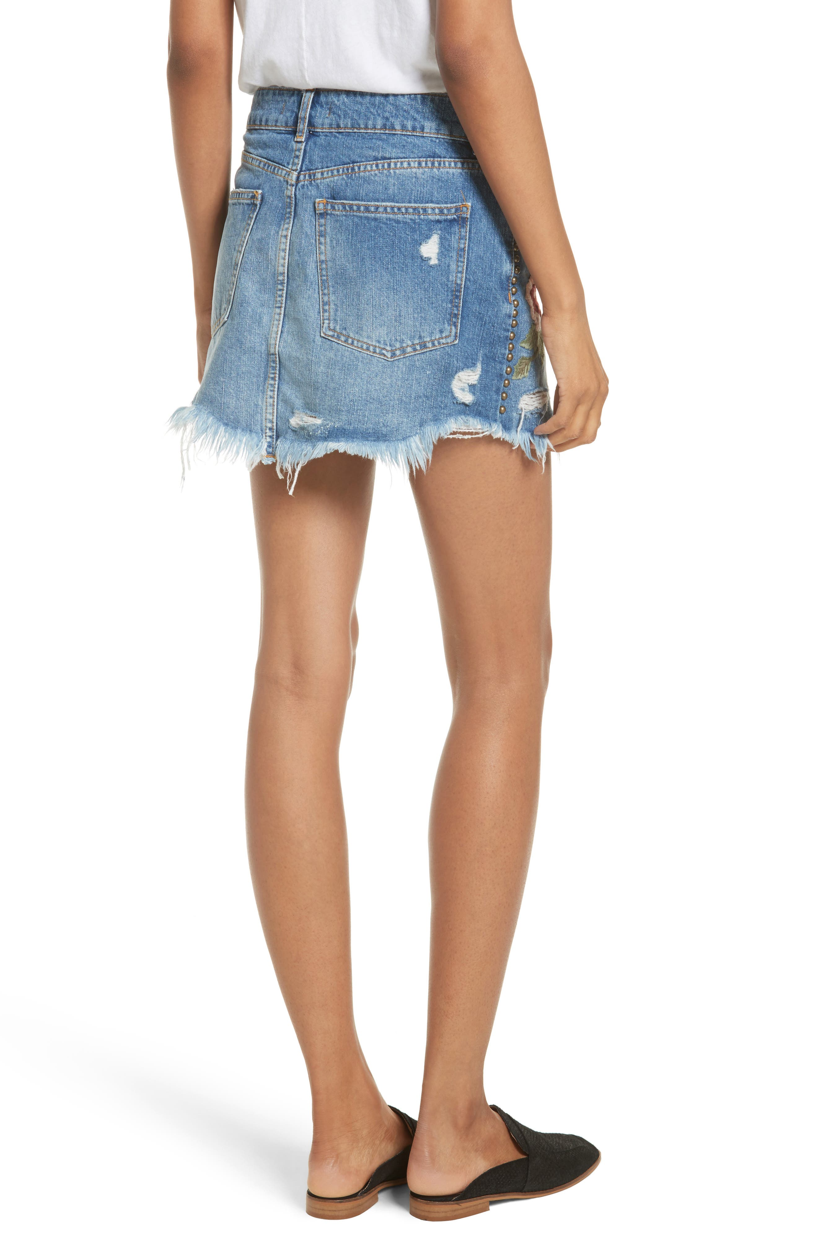 Alternate Image 2  - Free People Wild Rose Embroidered Miniskirt