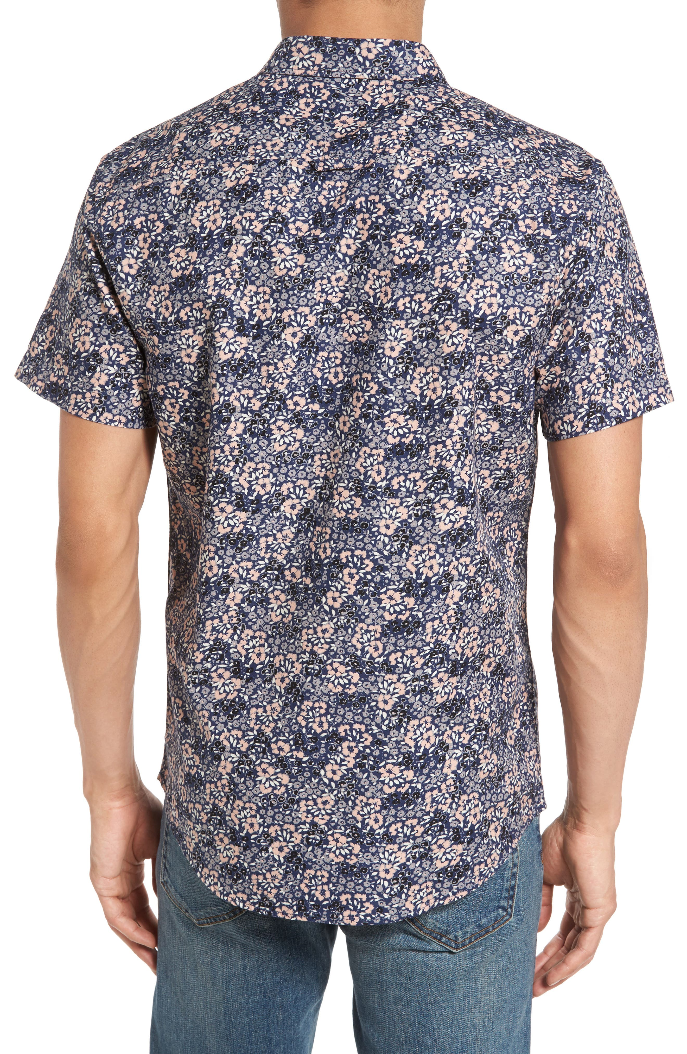 Poplin Floral Shirt,                             Alternate thumbnail 2, color,                             Navy Peacoat Simple Floral
