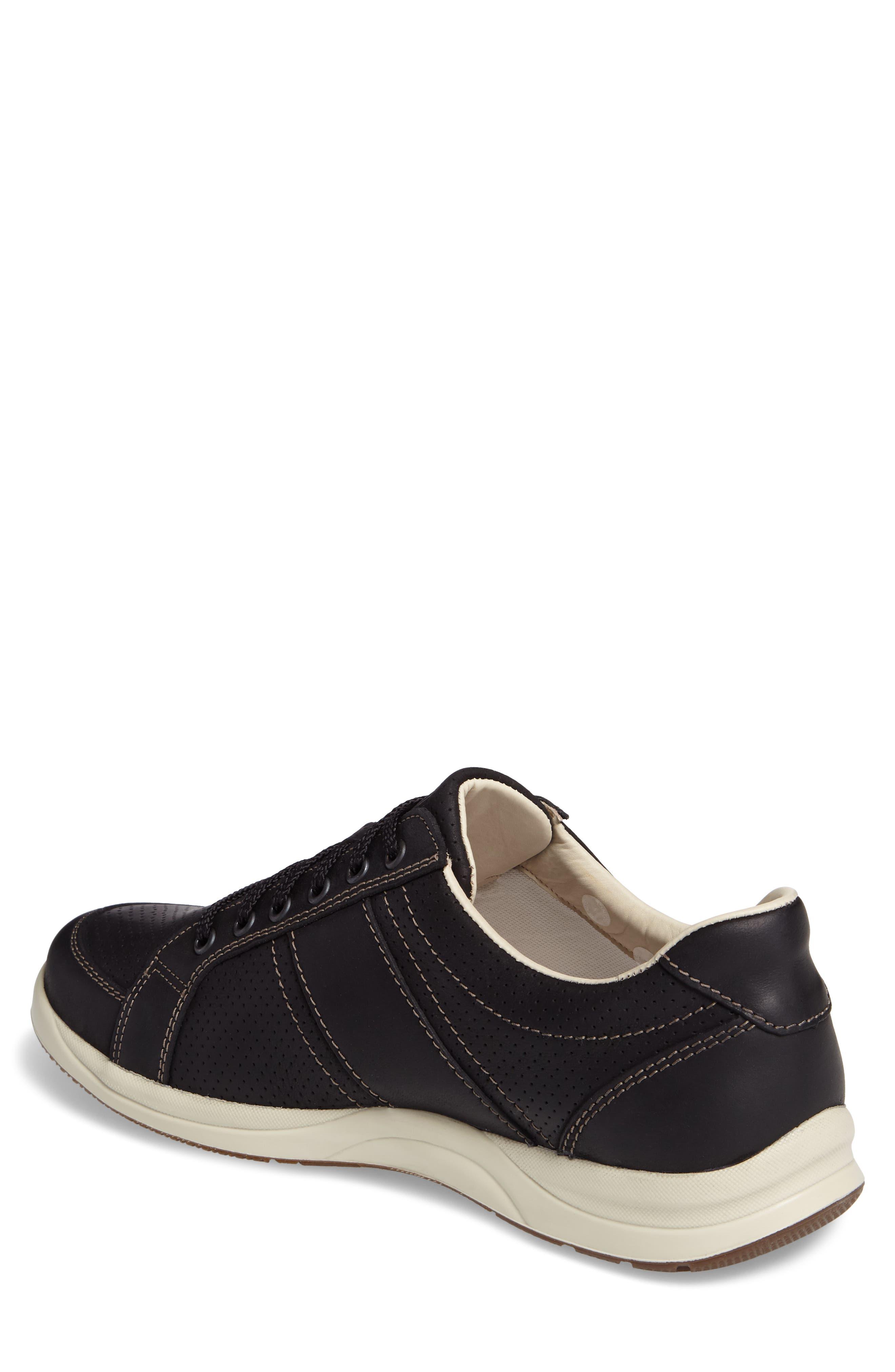 'Hero' Perforated Sneaker,                             Alternate thumbnail 2, color,                             Black Nubuck Leather