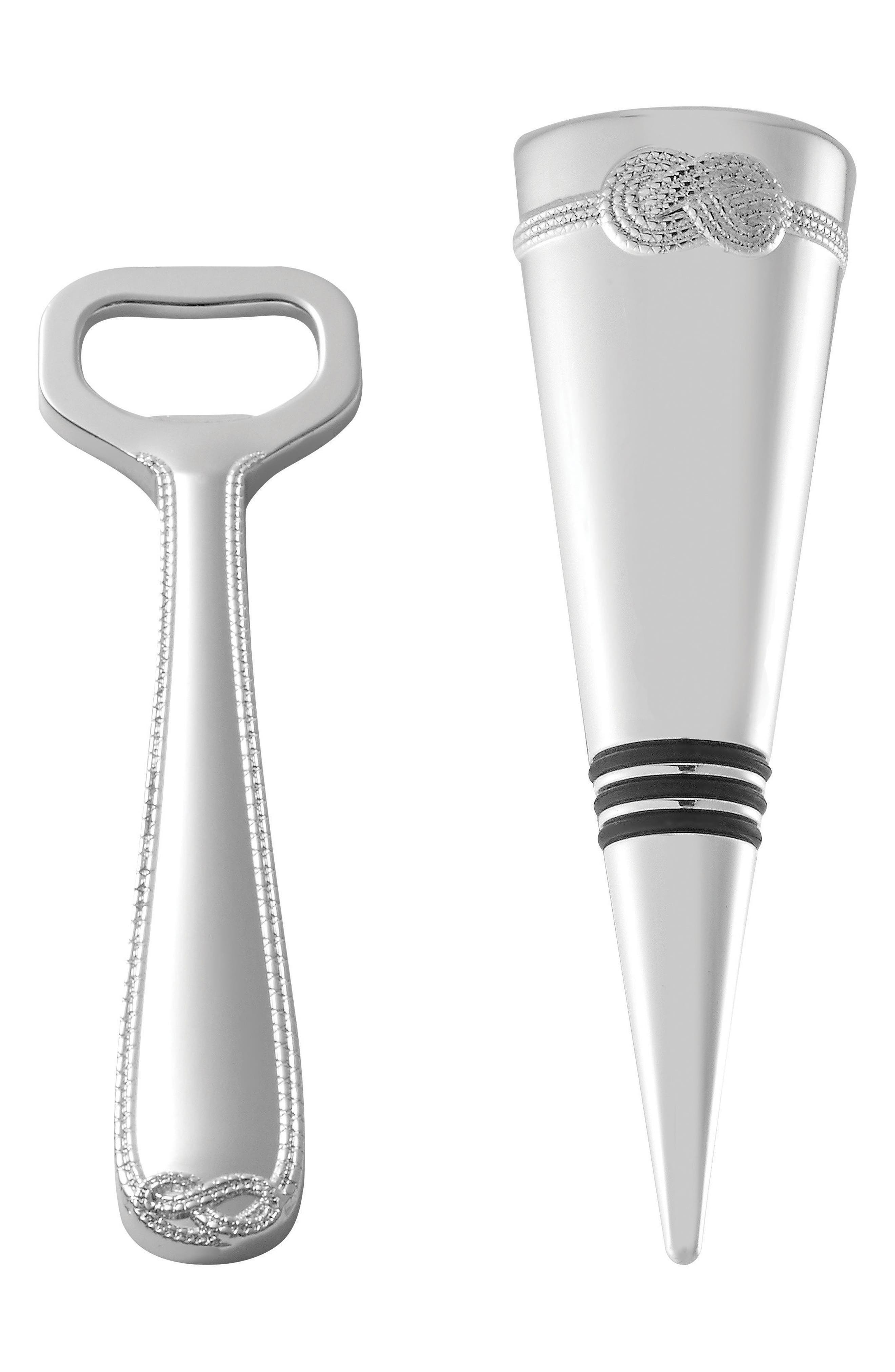 x Wedgewood Infinity Silver Plated Bottle Opener & Stopper,                             Main thumbnail 1, color,                             Metallic Silver