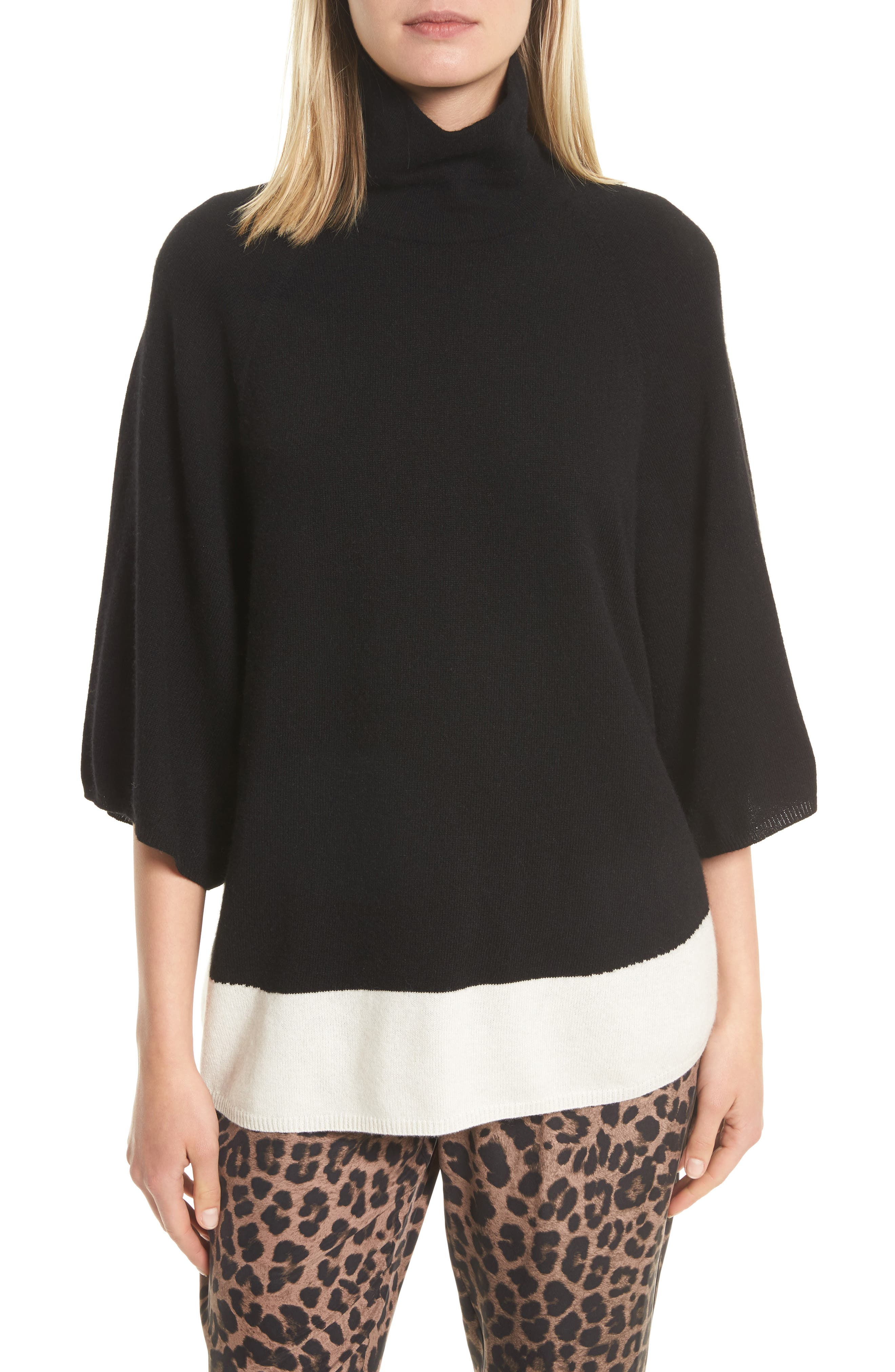 Celia G Wool & Cashmere Sweater,                         Main,                         color, Caviar / Porcelain