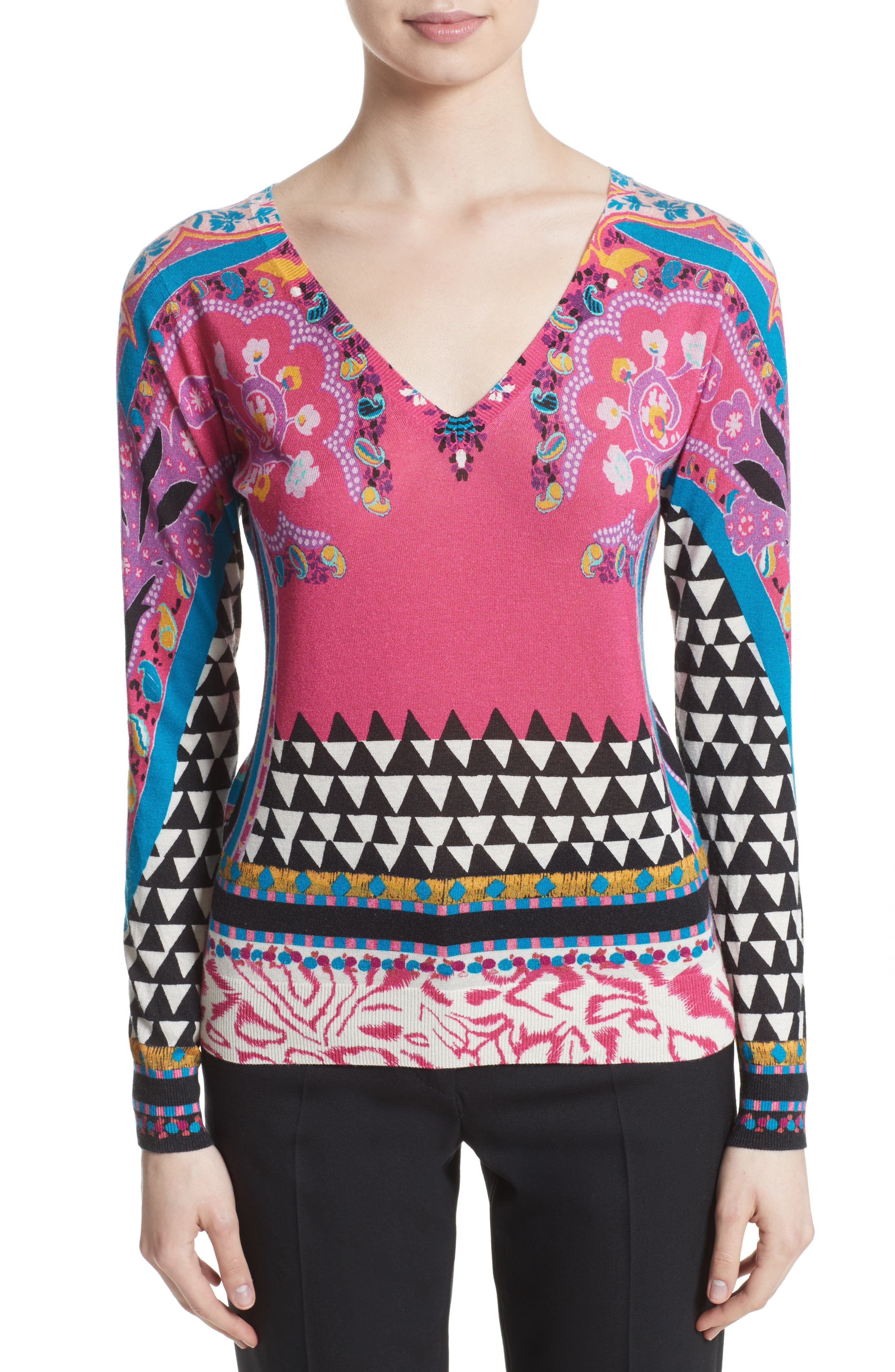 Geo Silk & Cashmere Sweater,                         Main,                         color, Pink