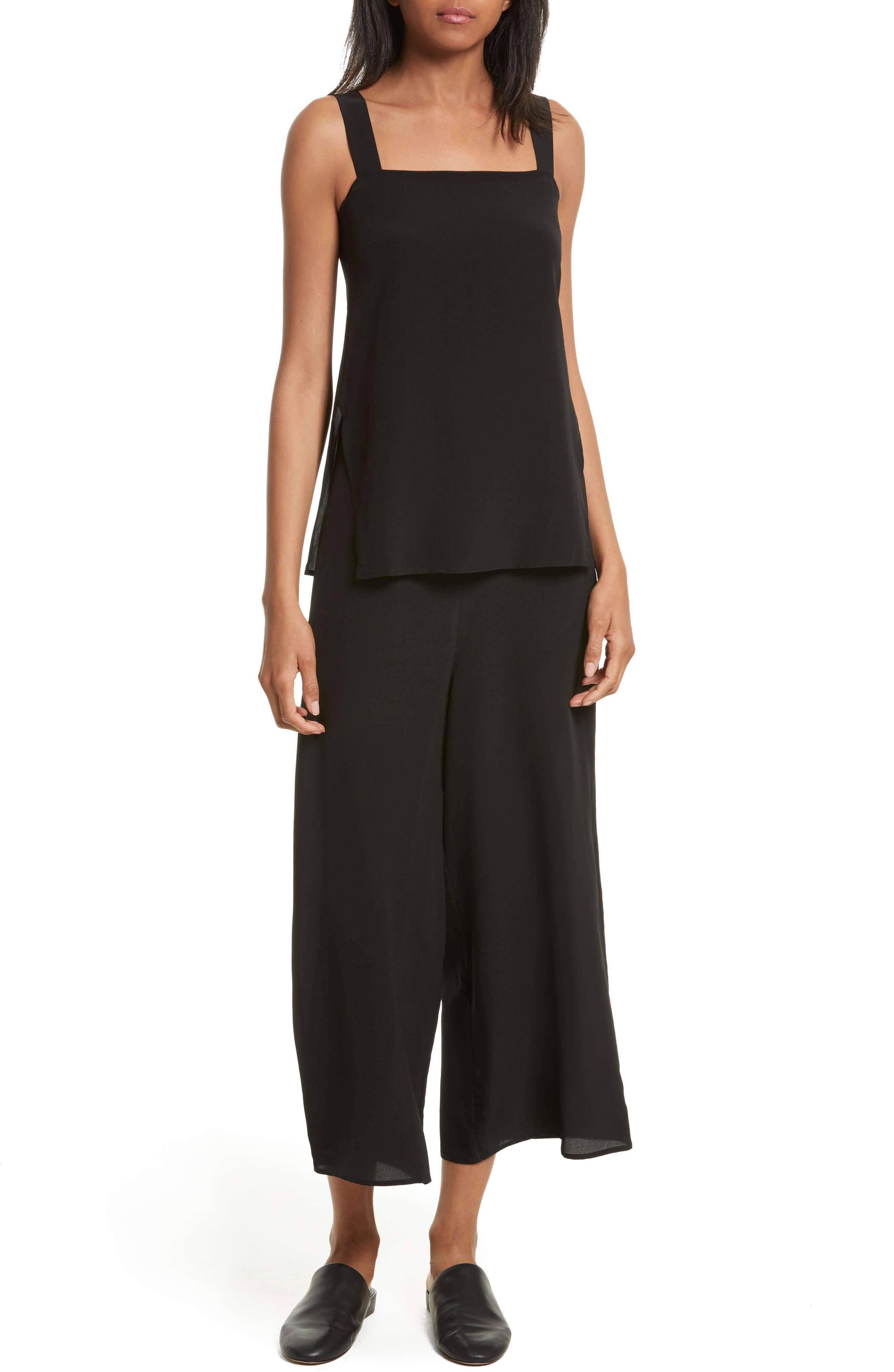 Silk Popover Jumpsuit,                             Main thumbnail 1, color,                             Black
