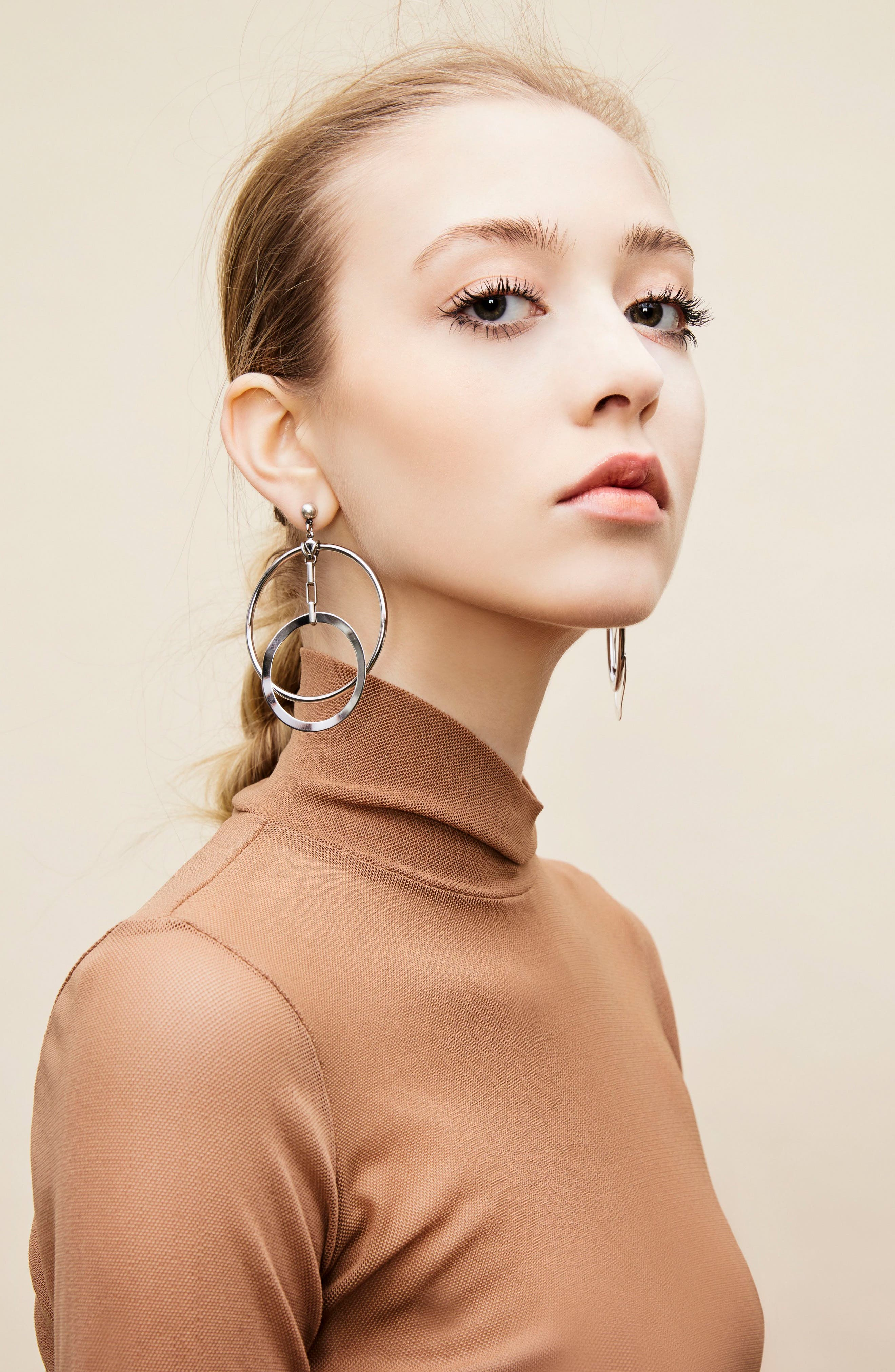 Eclipse Hoop Earrings,                             Alternate thumbnail 3, color,                             Silver