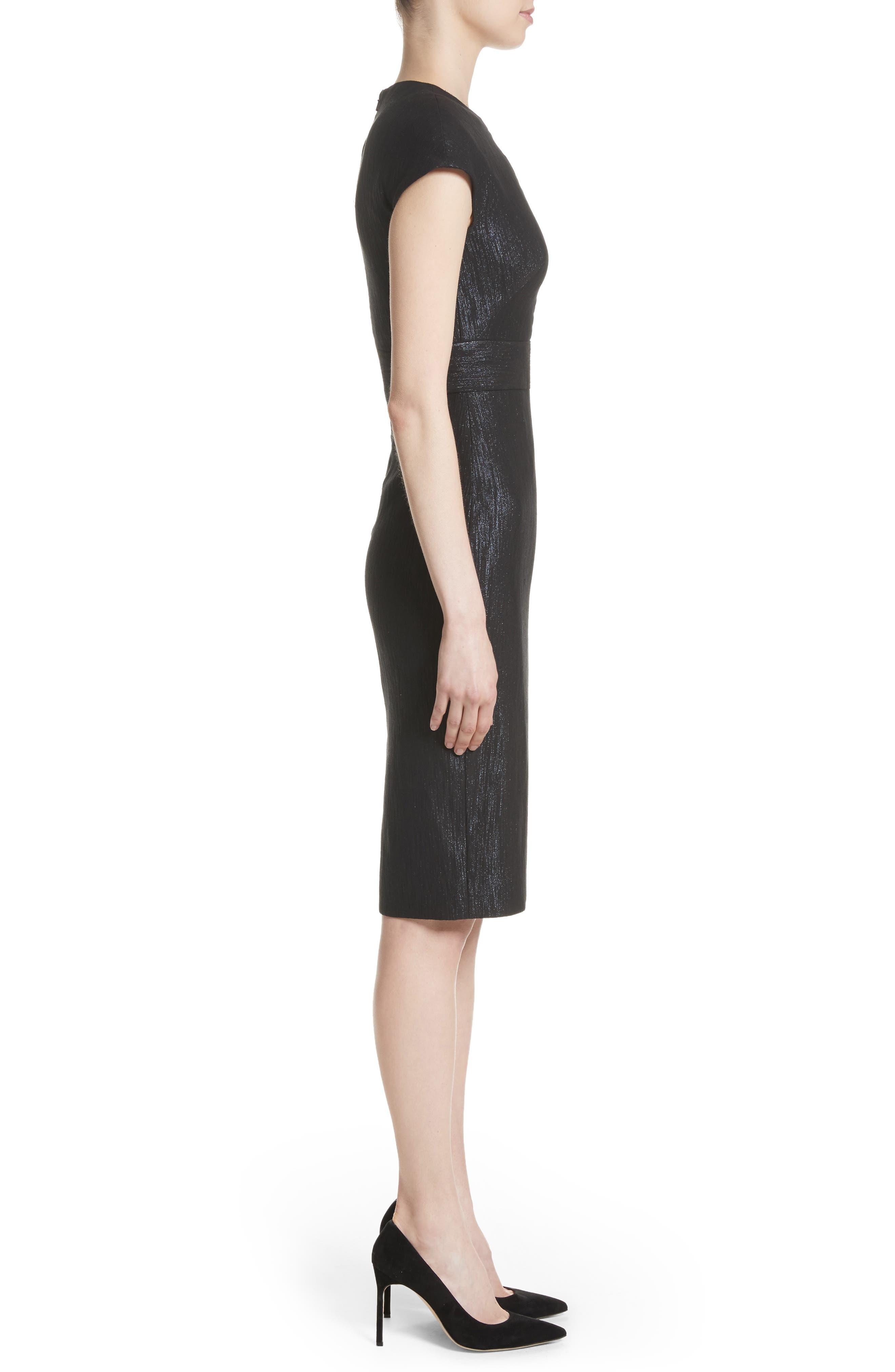 Alternate Image 3  - Lela Rose Shimmer Jacquard Sheath Dress
