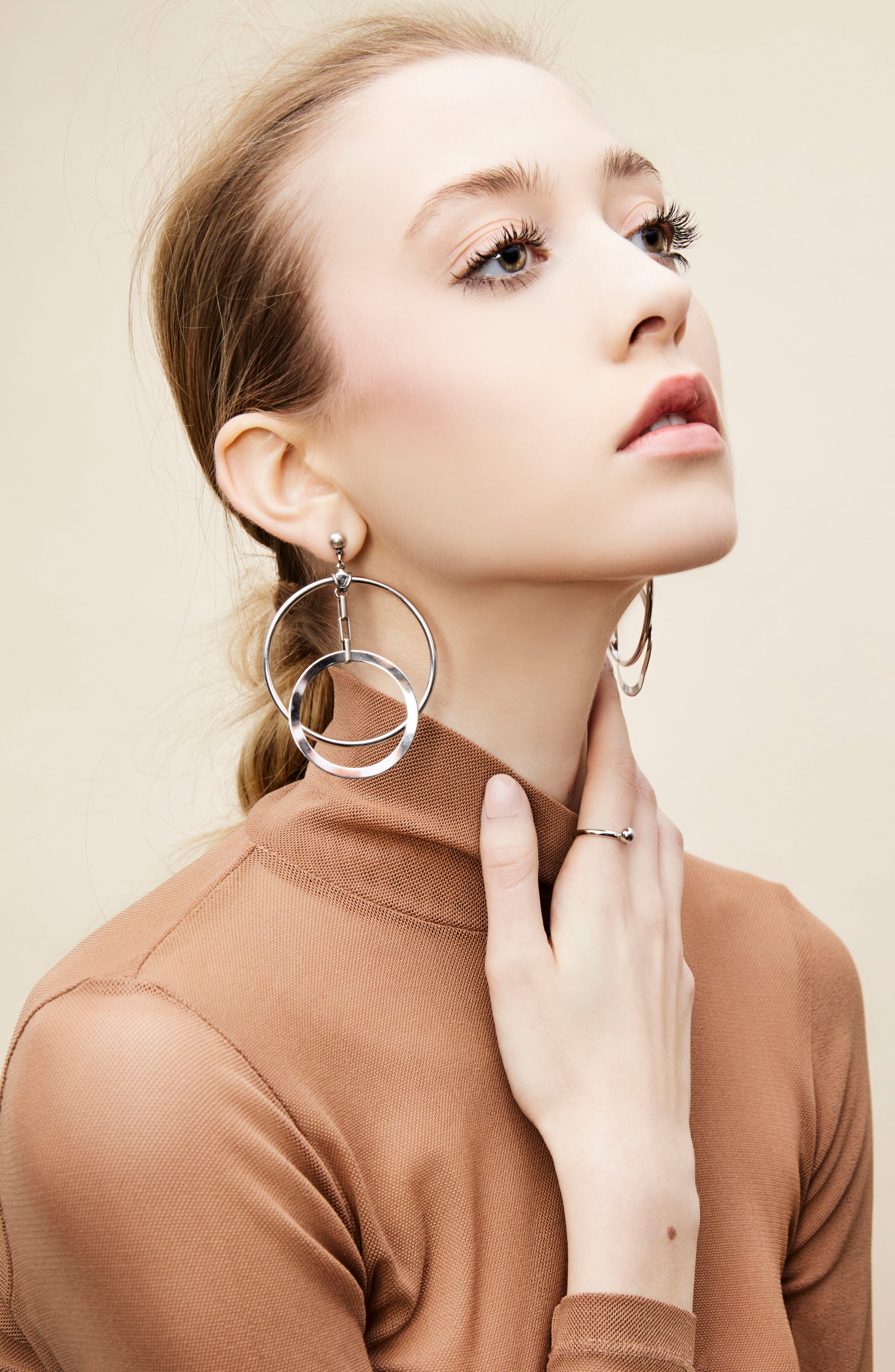 Eclipse Hoop Earrings,                             Alternate thumbnail 4, color,                             Silver