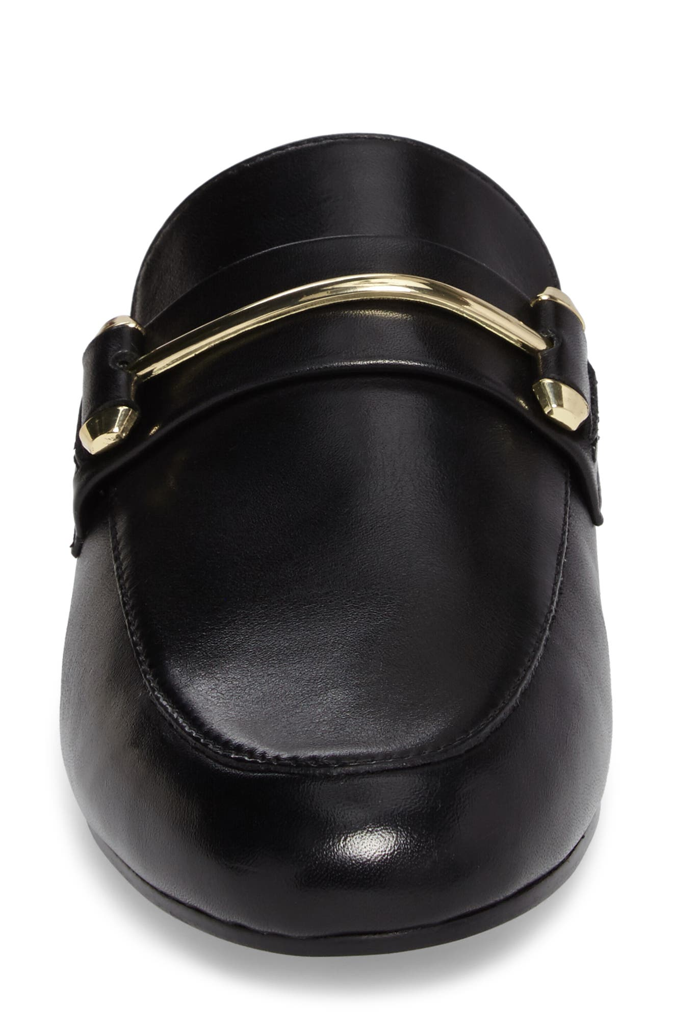 Kera Flat Loafer Mule,                             Alternate thumbnail 4, color,                             Black Leather