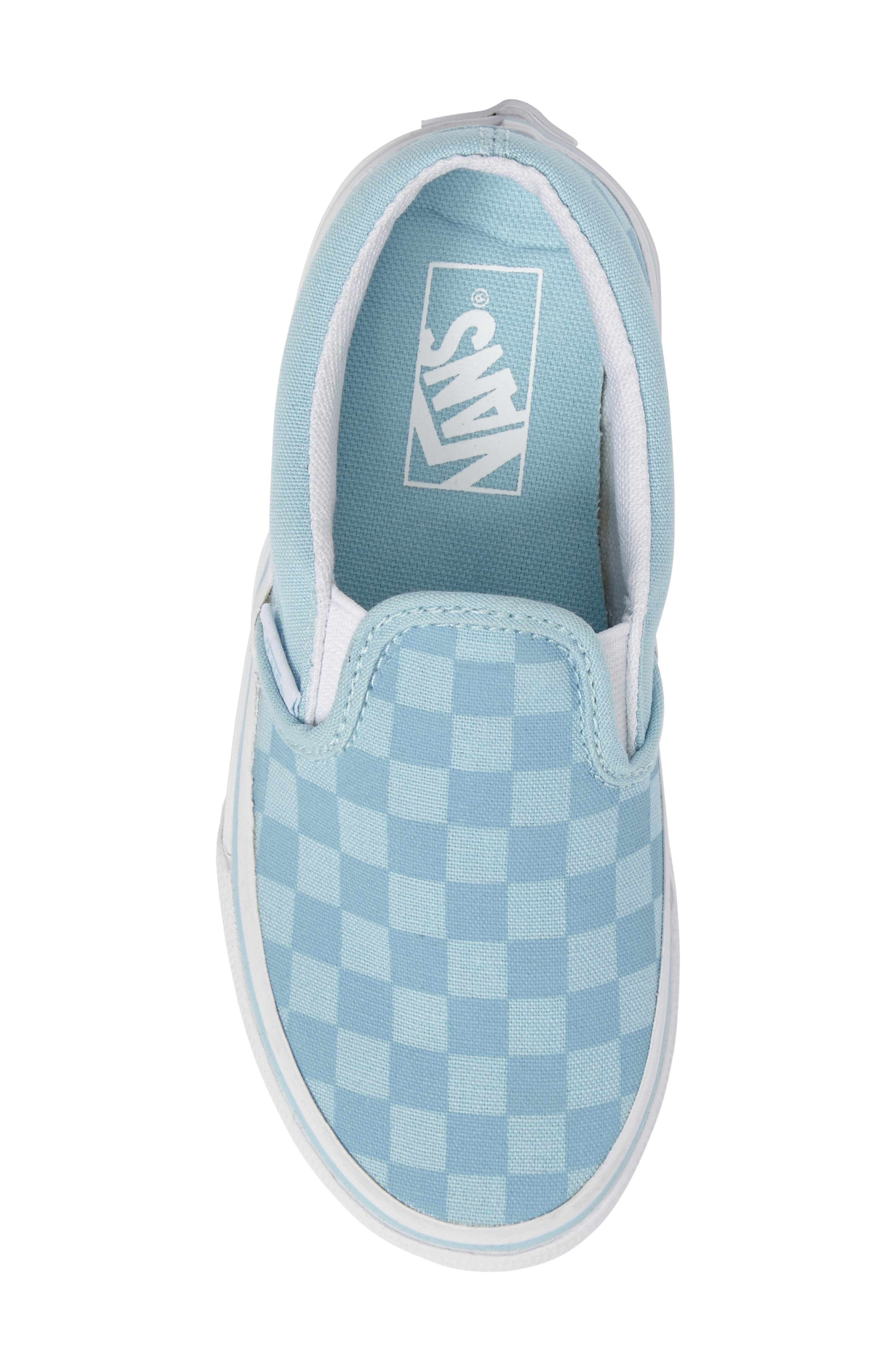 Classic Slip-On Sneaker,                             Alternate thumbnail 5, color,                             Crystal Blue Tonal Check