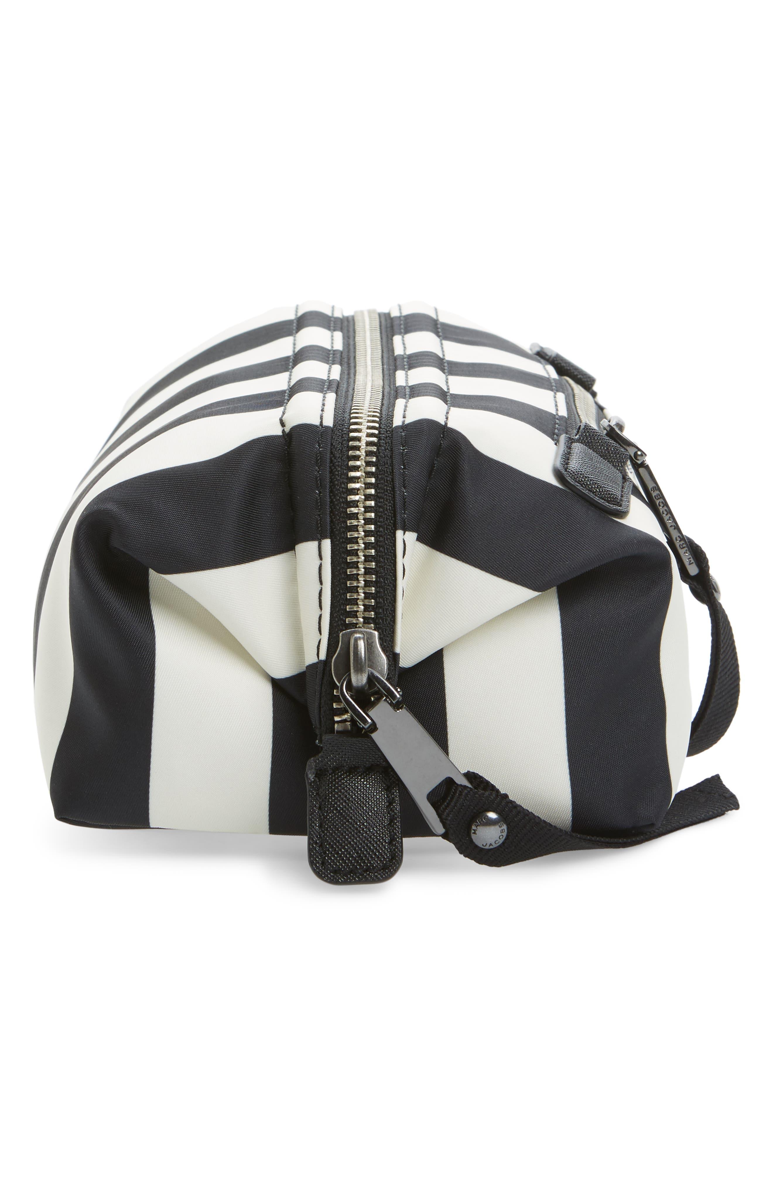 Stripes Trooper Cosmetics Bag,                             Alternate thumbnail 4, color,                             Black Multi