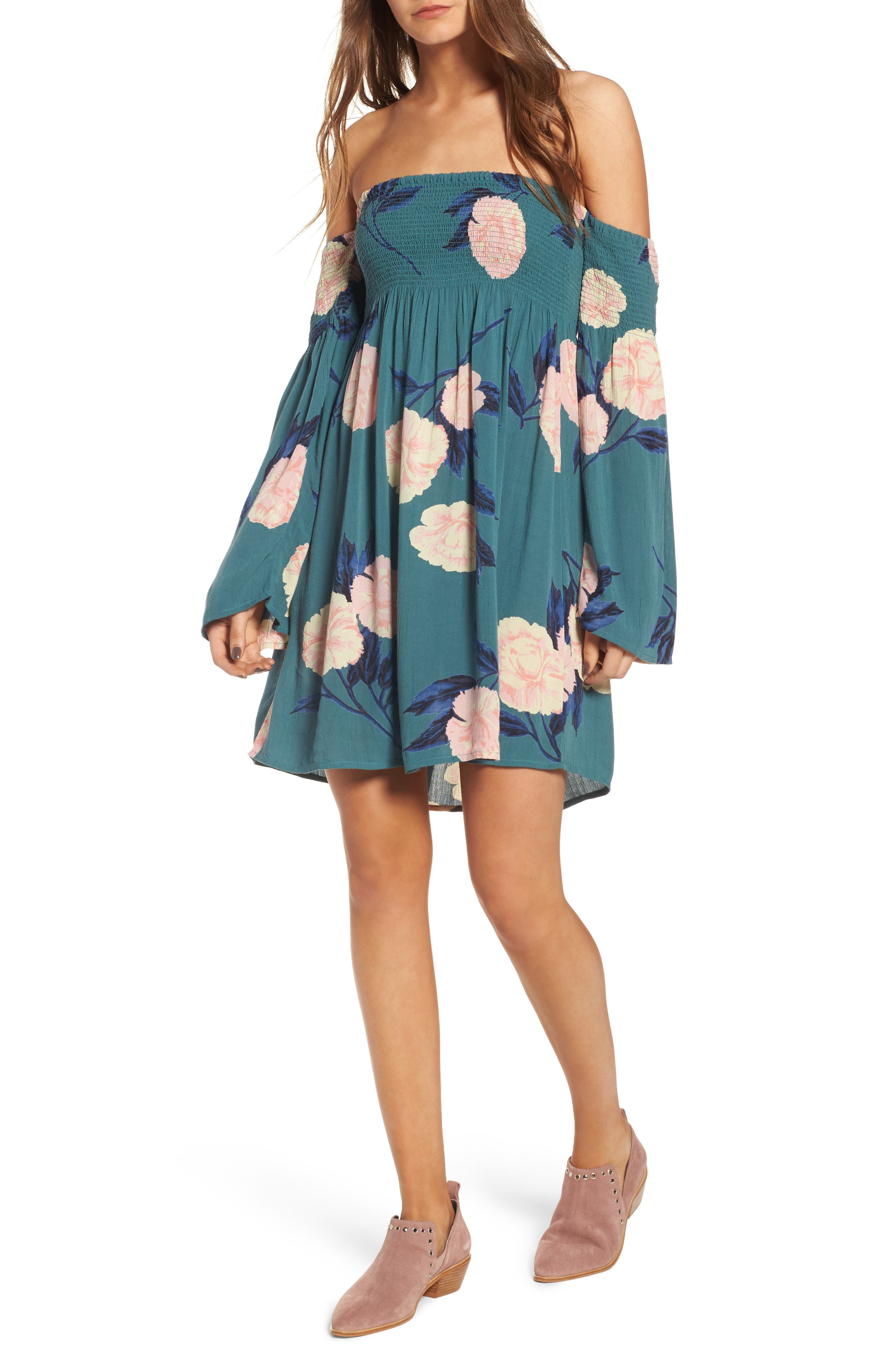 Night Fox Off the Shoulder Dress,                         Main,                         color, Suger Pine