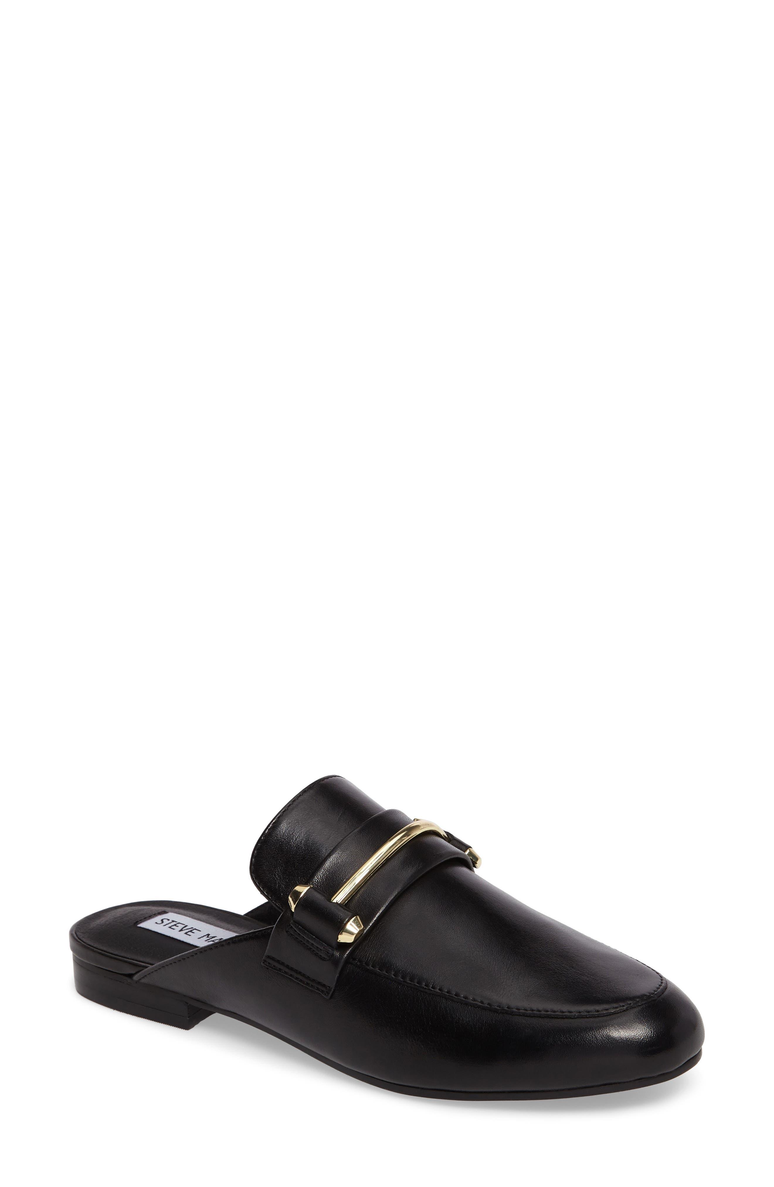 Kera Flat Loafer Mule,                             Main thumbnail 1, color,                             Black Leather