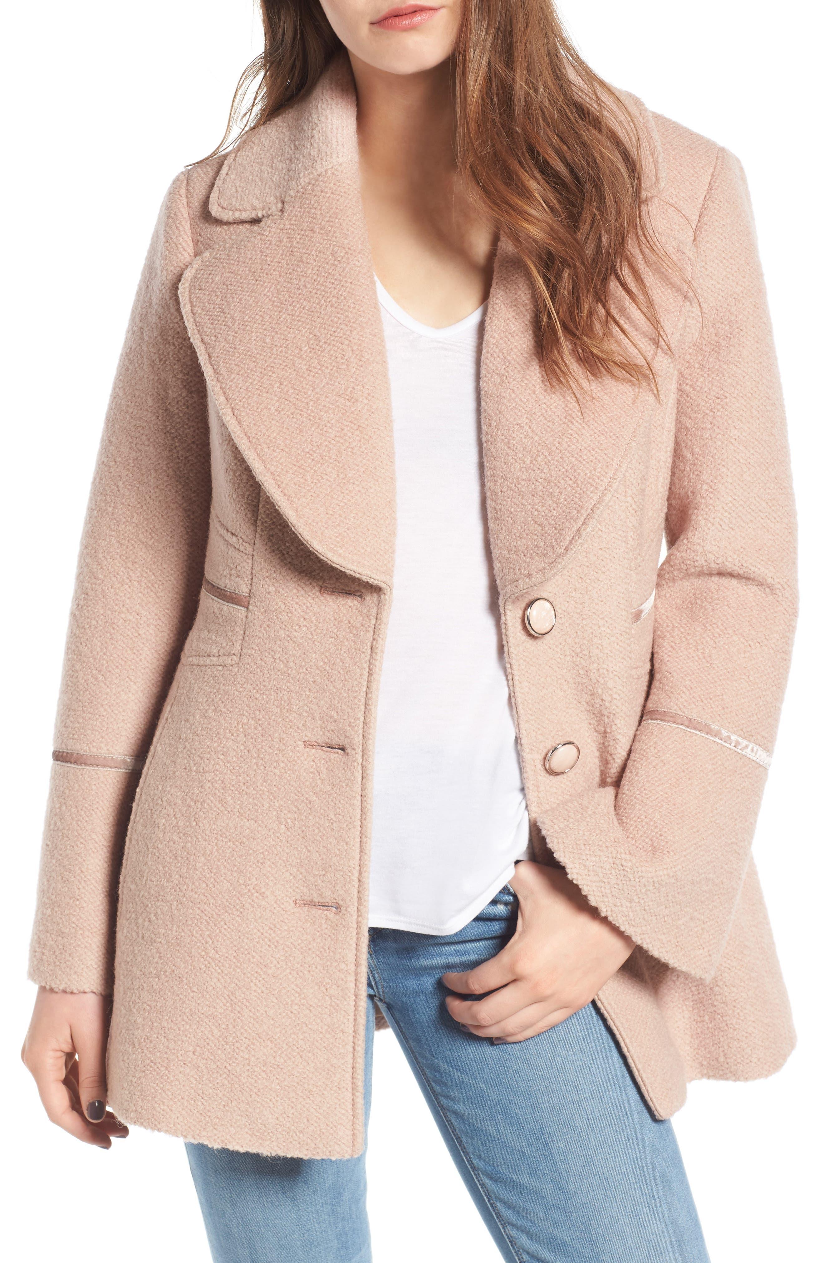 Velvet Trim Bell Sleeve Coat,                         Main,                         color, Nude