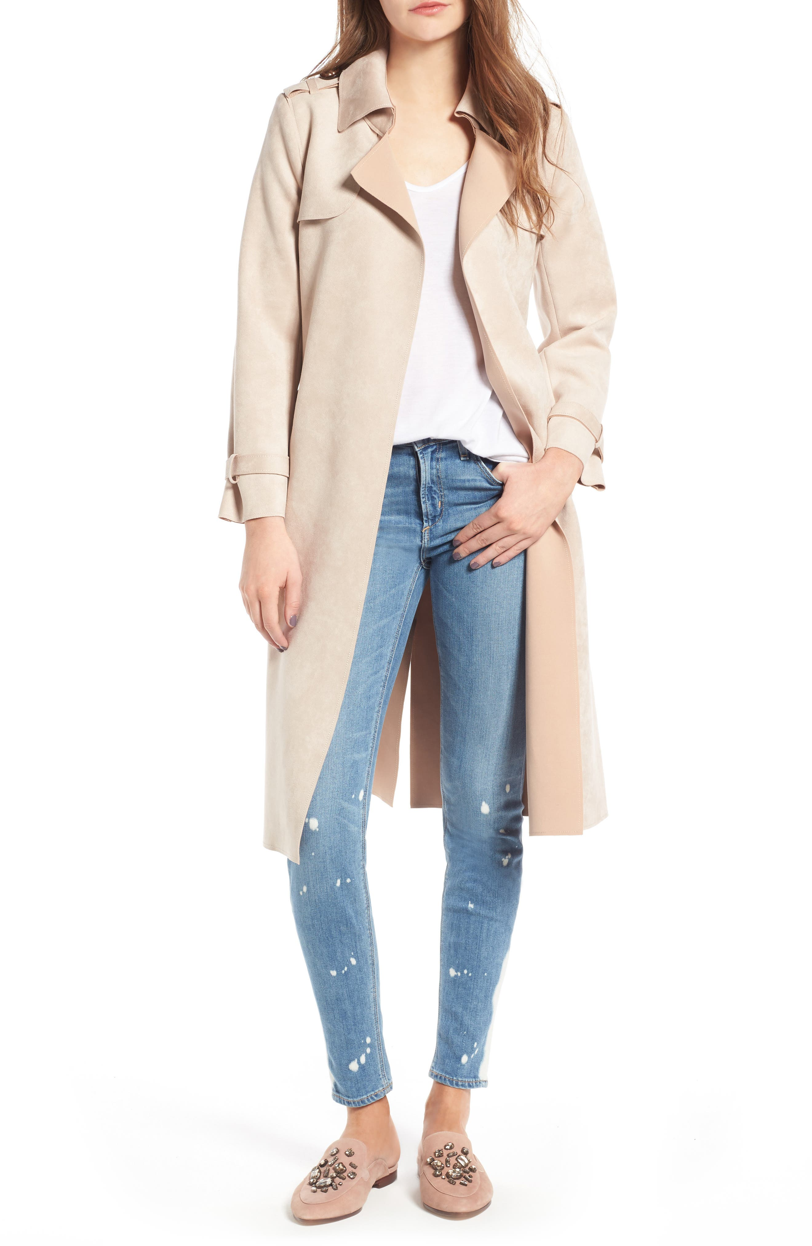 Faux Suede Long Trench Coat,                         Main,                         color, Blush