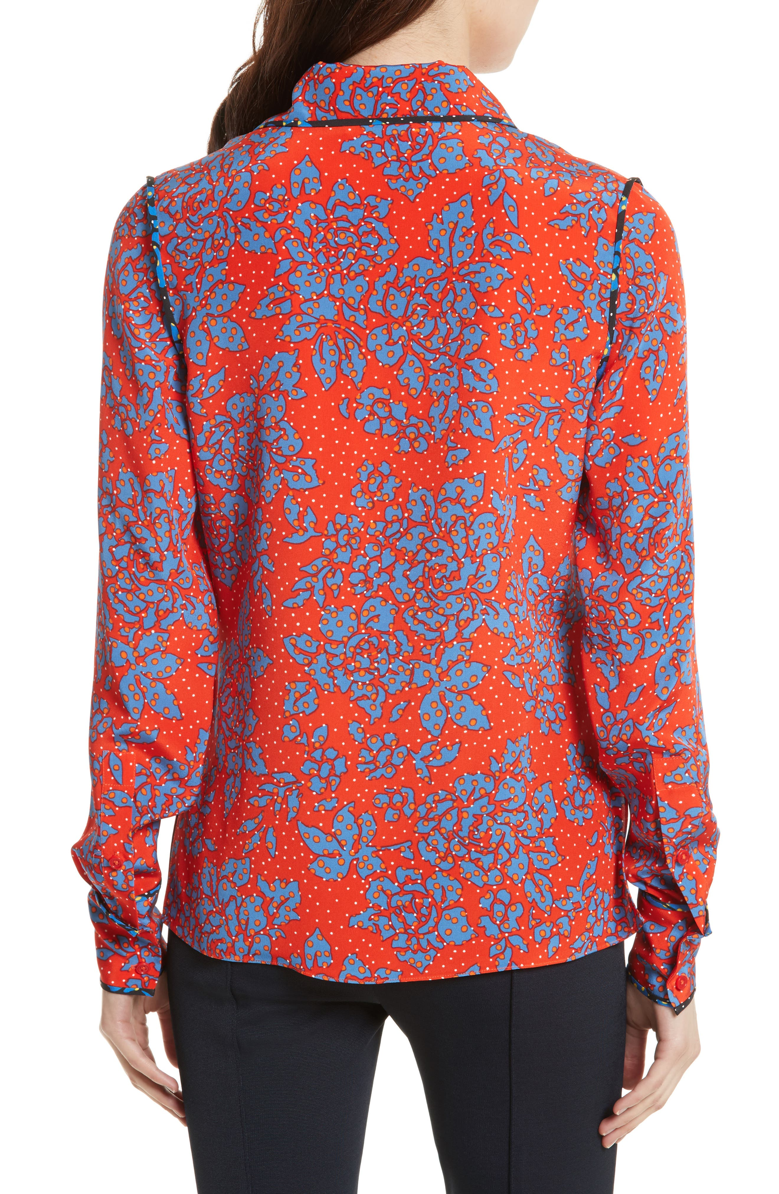 Print Silk Shirt,                             Alternate thumbnail 2, color,                             Bright Red/ Callow Black