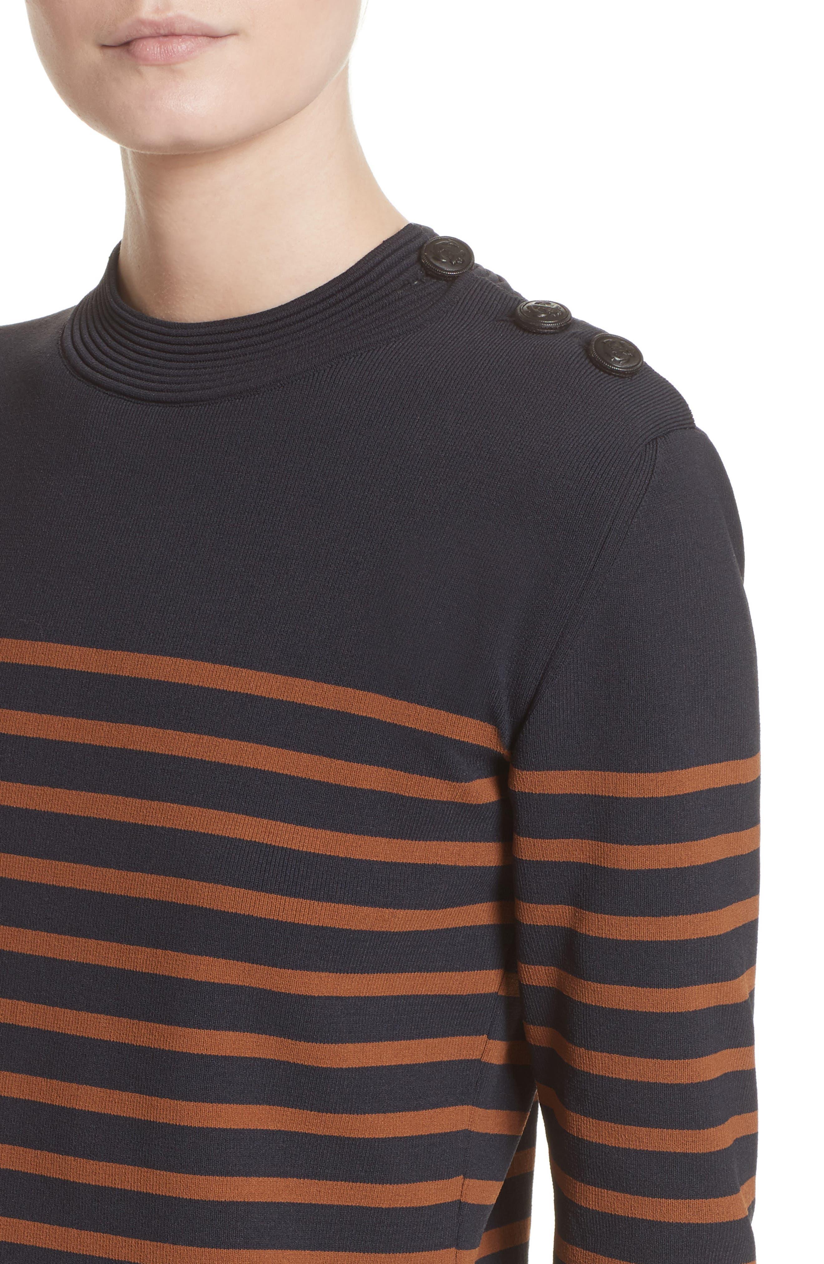Selicia Stripe Sweater,                             Alternate thumbnail 6, color,                             Black