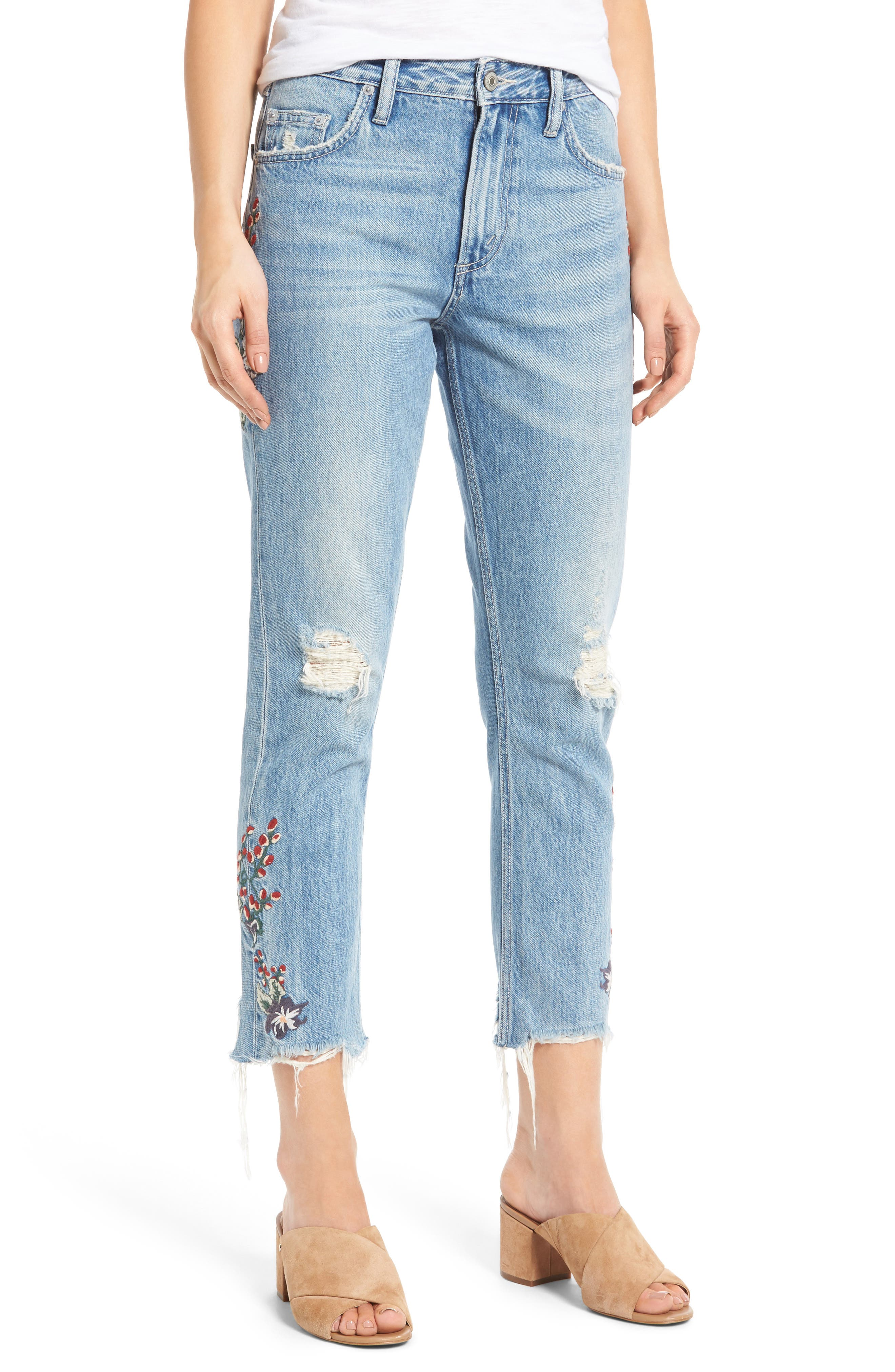 Hailey Embroidered Straight Leg Crop Jeans,                             Main thumbnail 1, color,                             Tala
