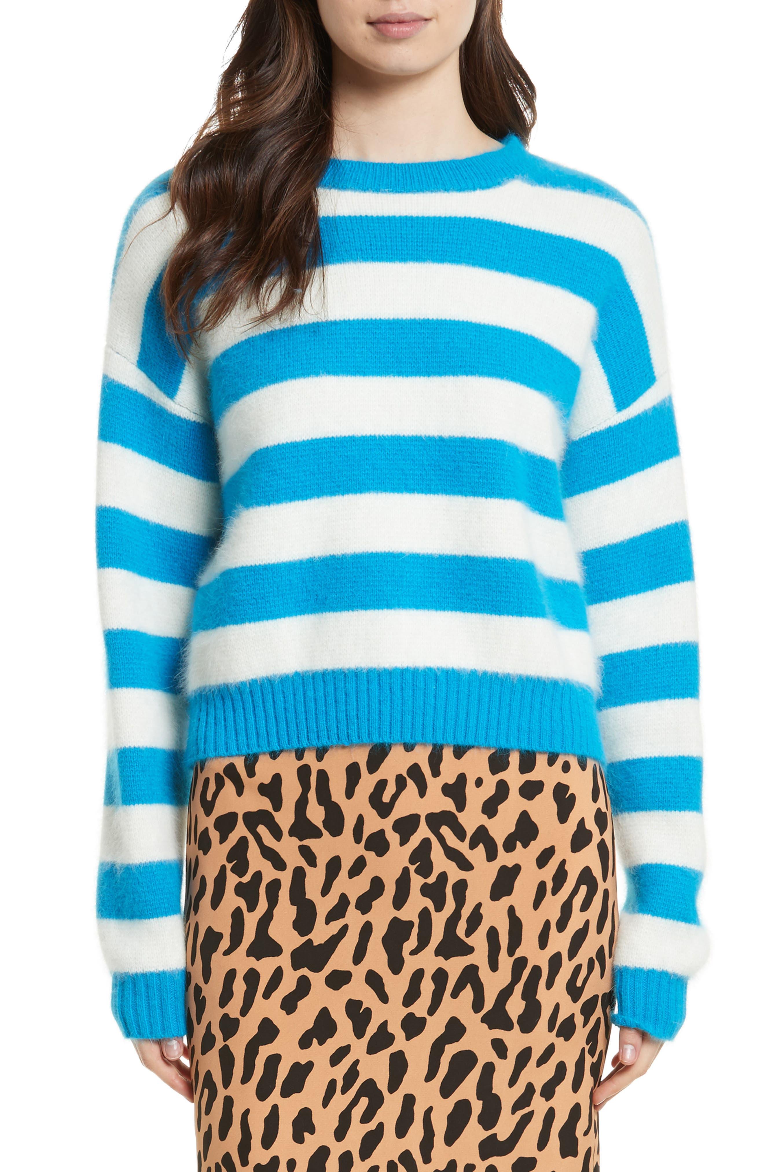 Stripe Baseball Sweater,                         Main,                         color, Cerulean/ Ivory