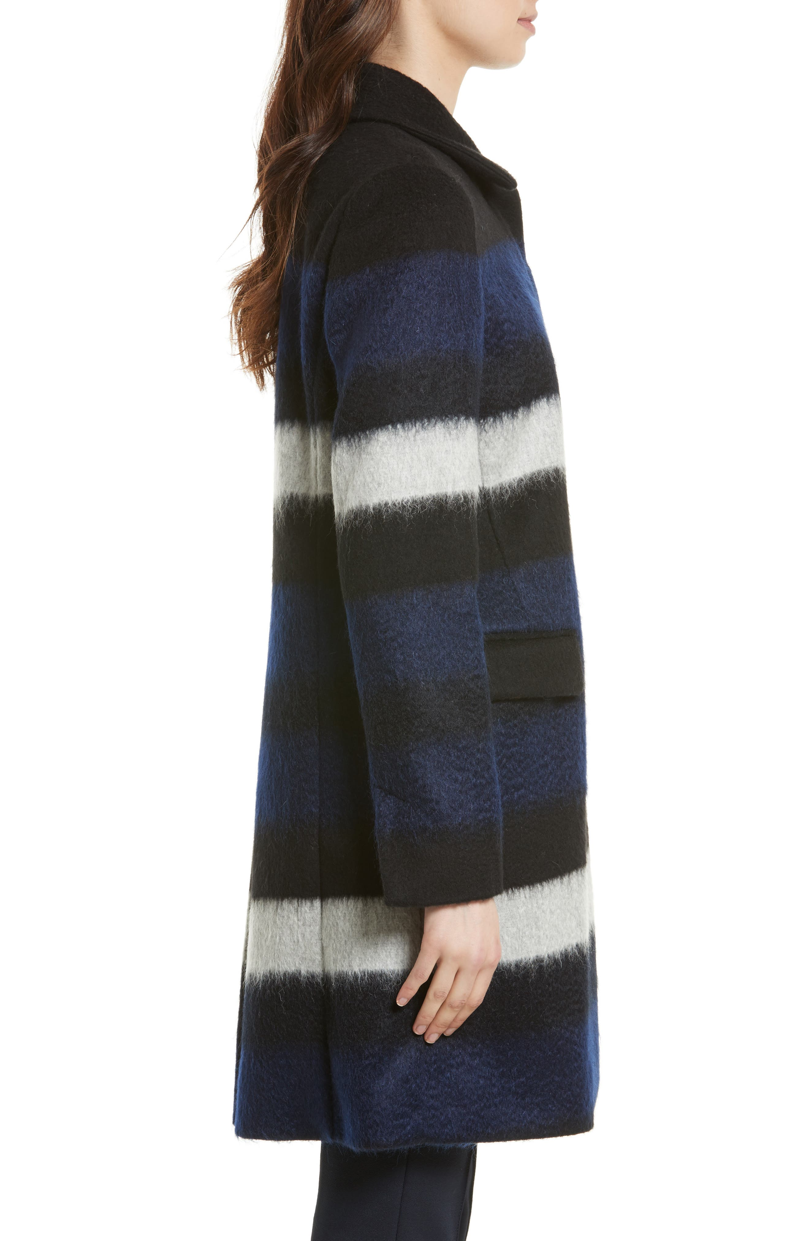 Stripe Wool Blend Coat,                             Alternate thumbnail 3, color,                             Black Multi Stripe