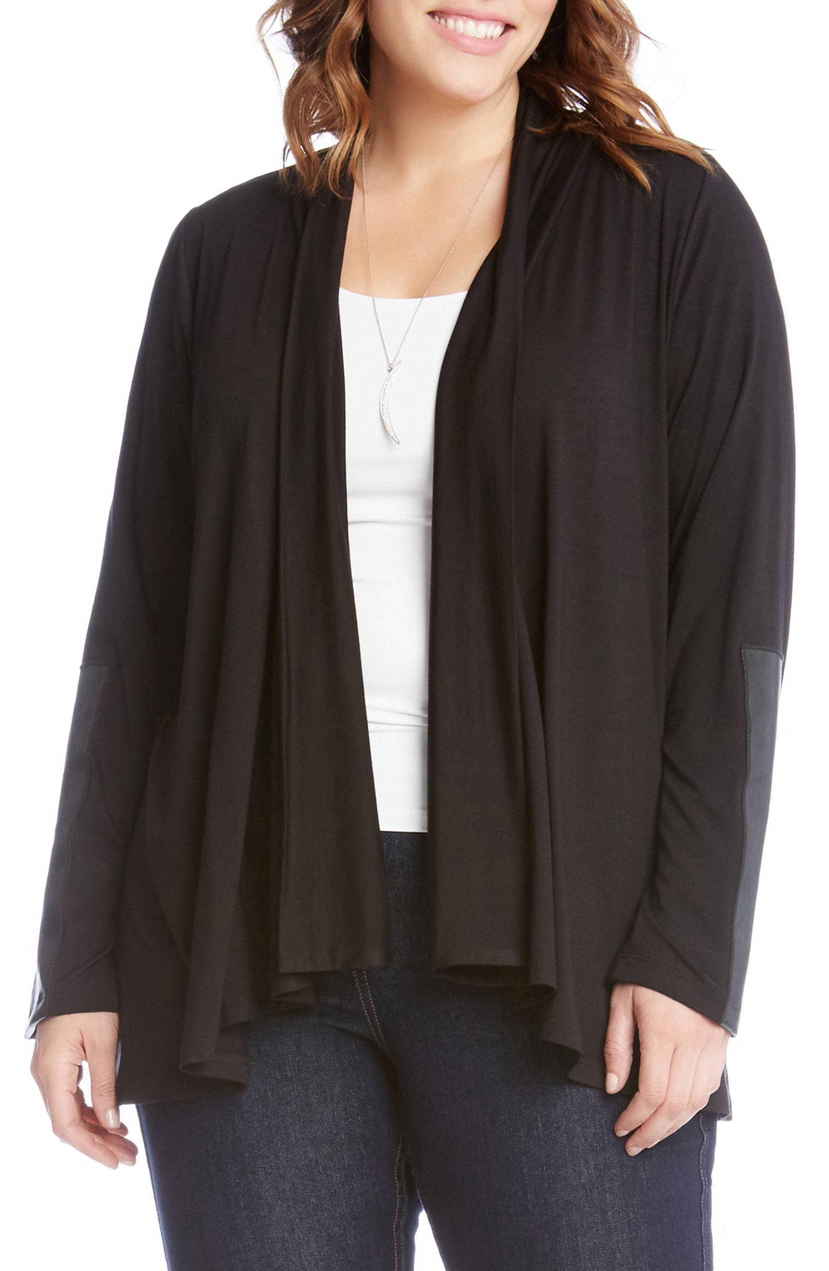Karen Kane Faux Leather Patch Jacket (Plus Size)
