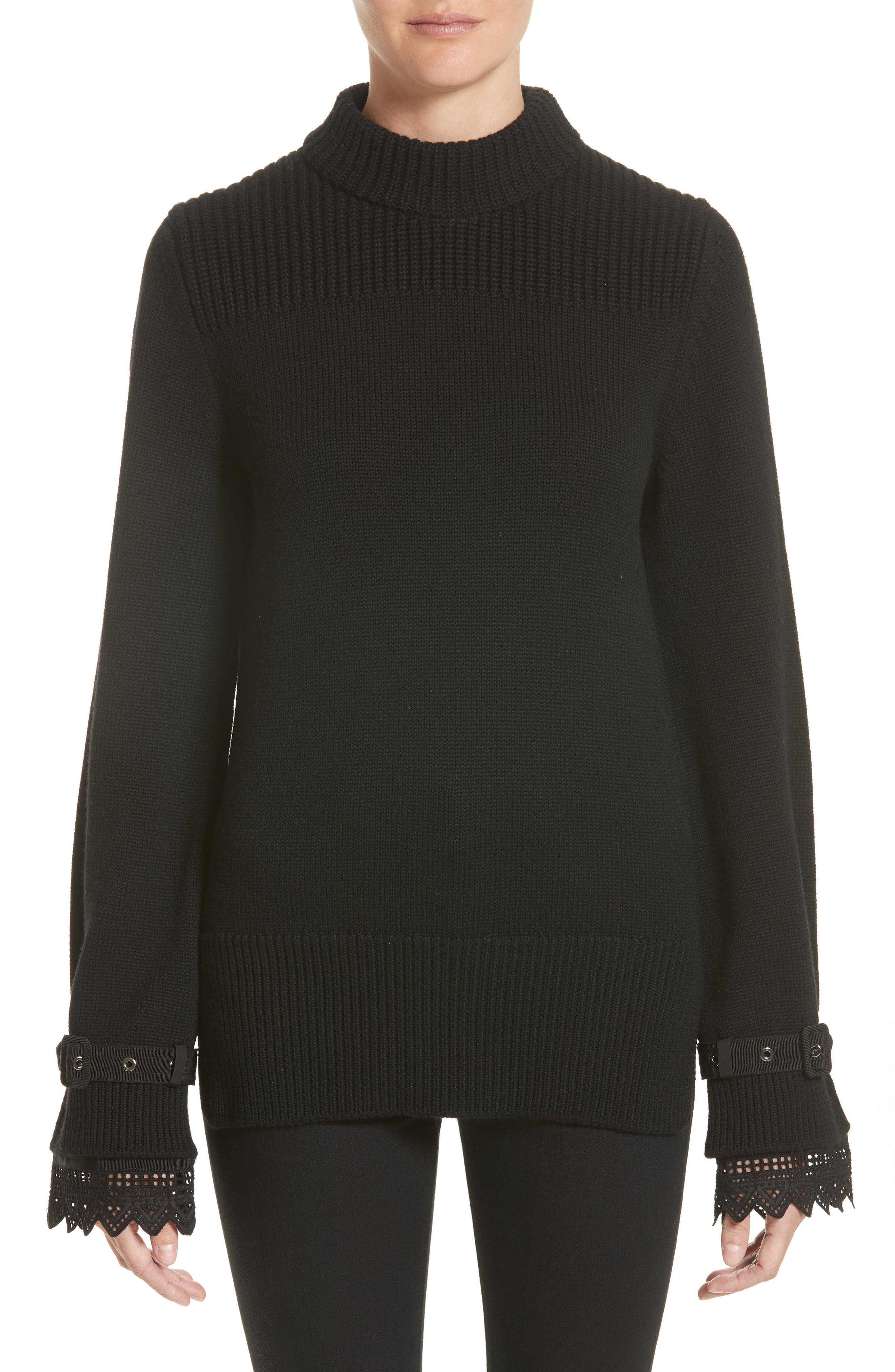 Moncler Girocollo Lace Cuff Wool Sweater