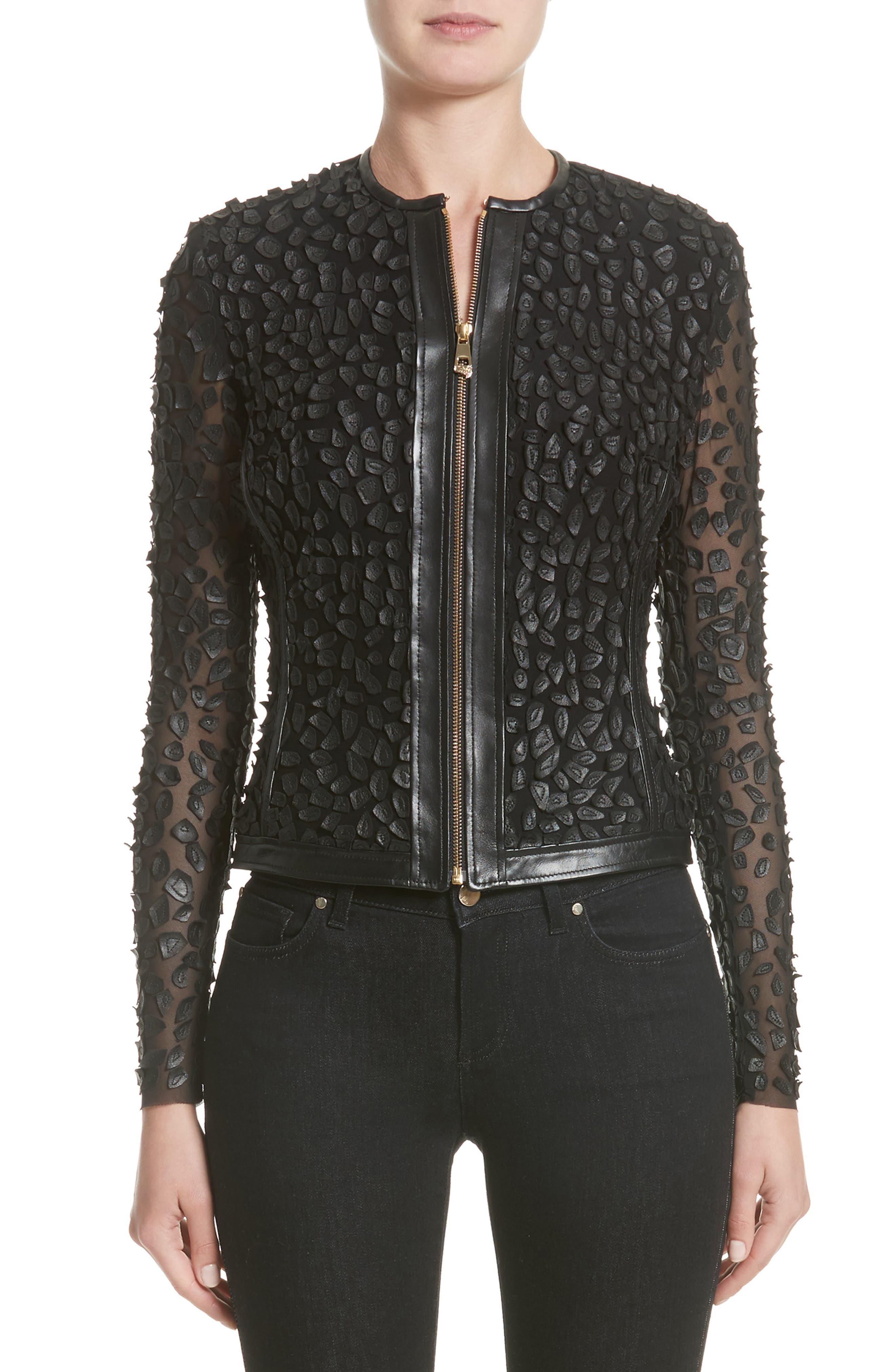 Collection Pieced Leather Jacket,                             Main thumbnail 1, color,                             Black