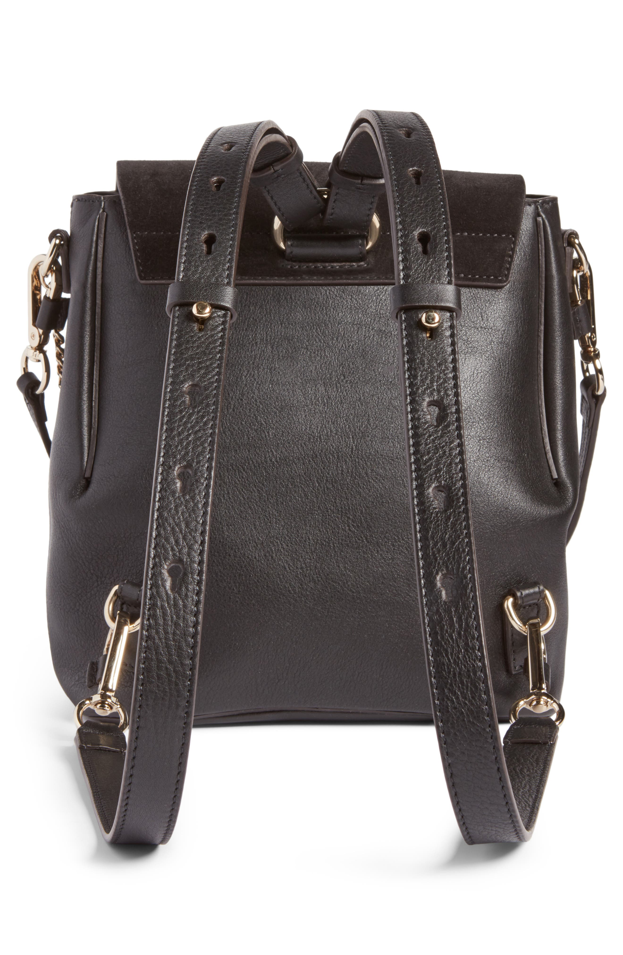 Small Faye Suede & Leather Backpack,                             Alternate thumbnail 3, color,                             Black