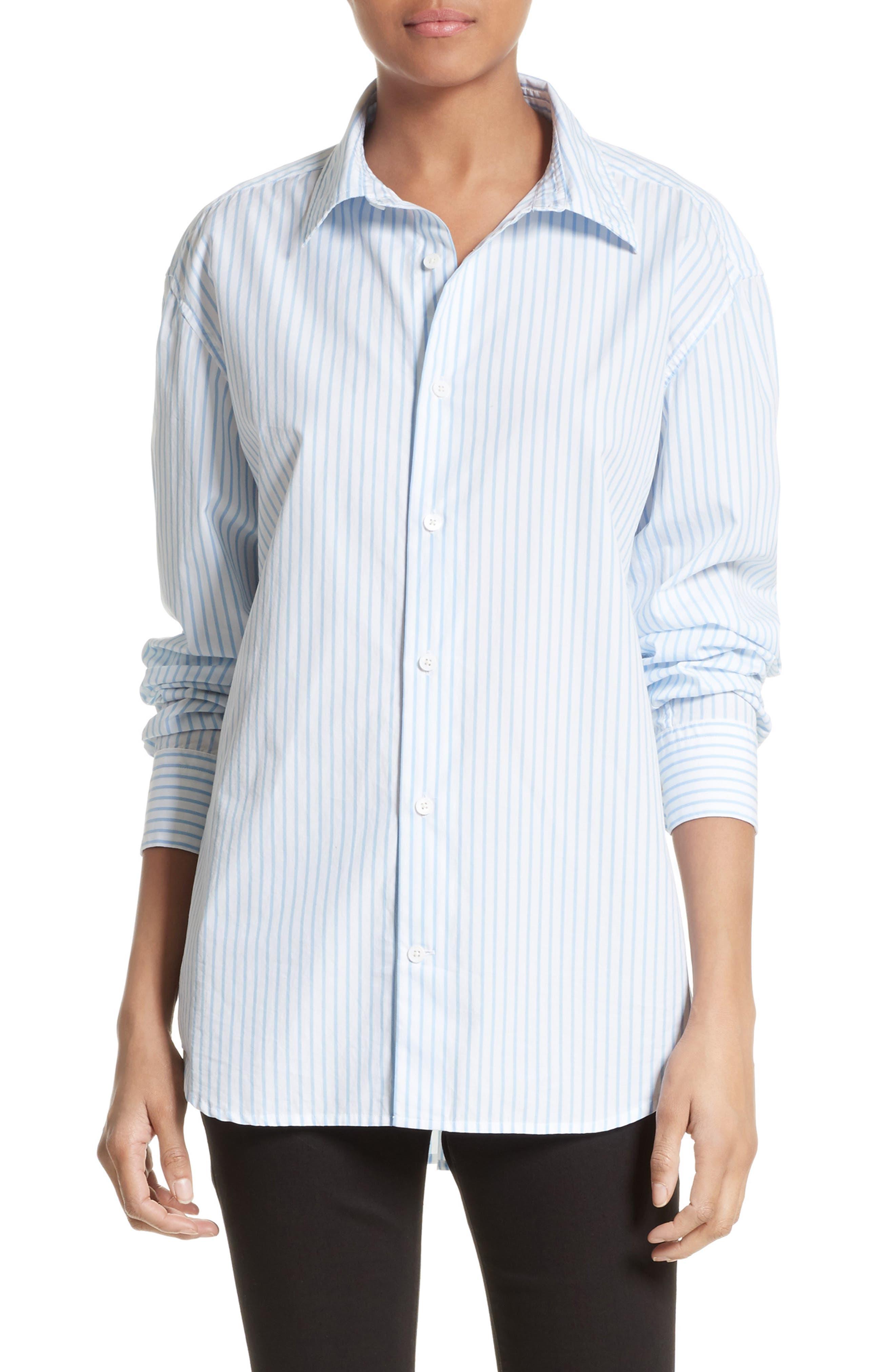 Stripe Poplin Shirt,                             Main thumbnail 1, color,                             Capri Blue Multi
