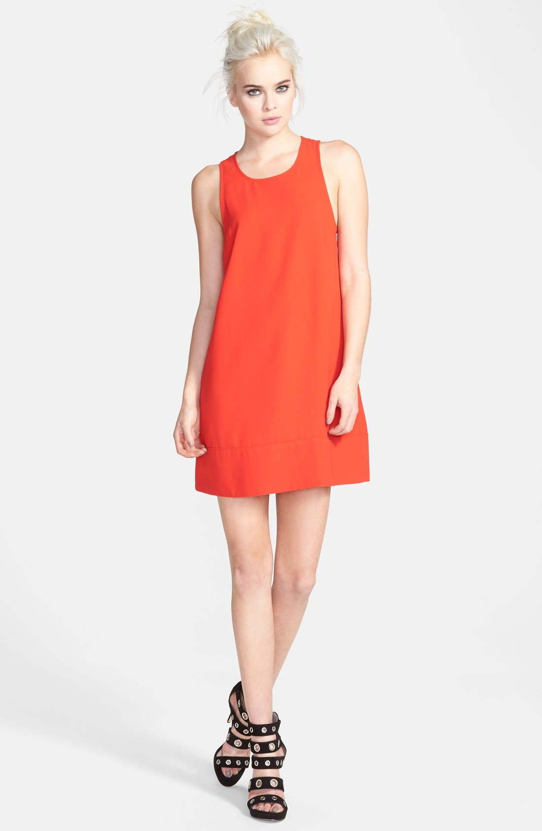 Racerback Shift Dress,                             Main thumbnail 1, color,                             Red Bloom