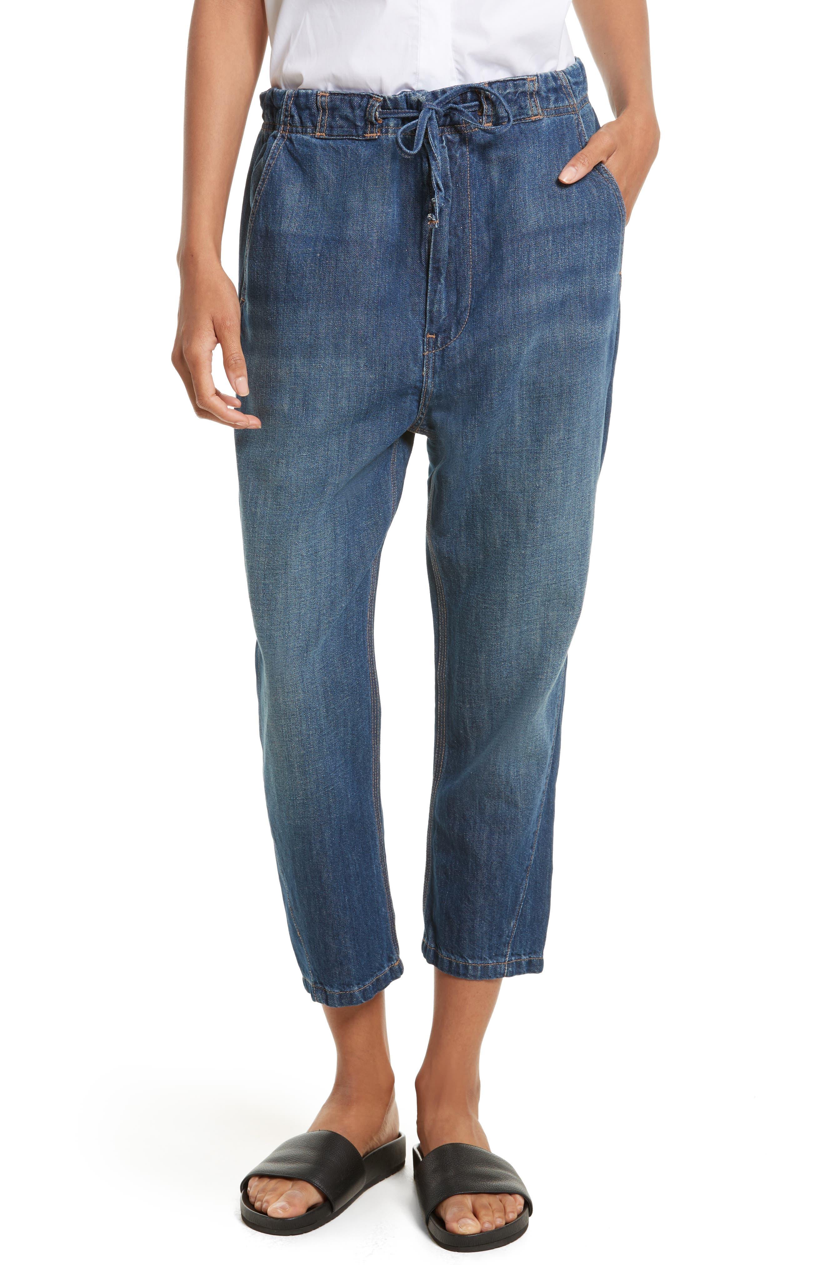 Cotton & Linen Denim Drawstring Workwear Trousers,                         Main,                         color, Light Wash
