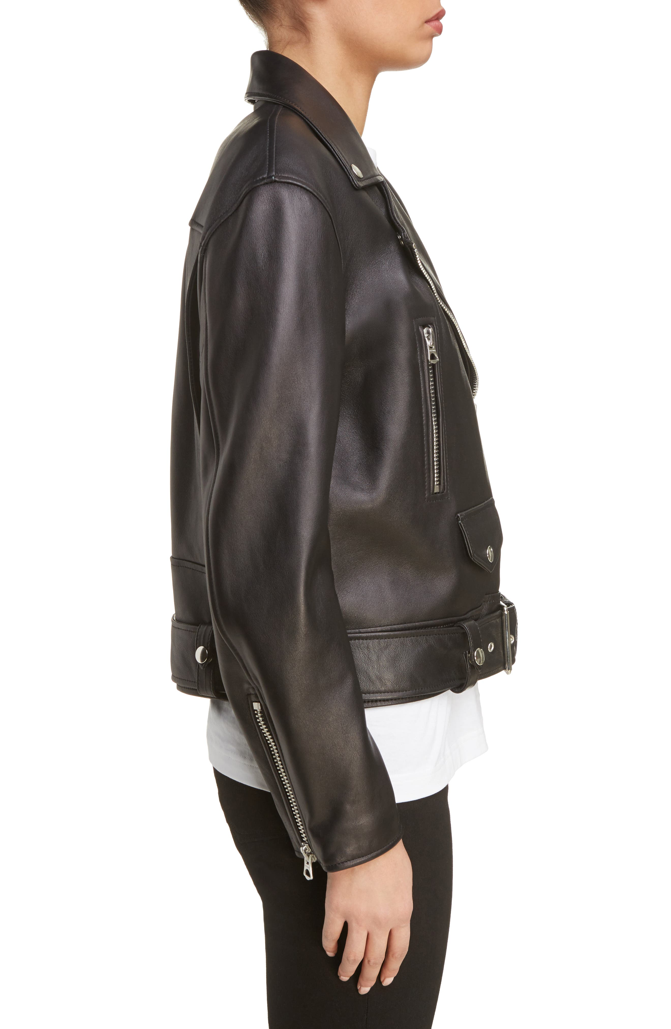 Merlyn Leather Moto Jacket,                             Alternate thumbnail 4, color,                             Black