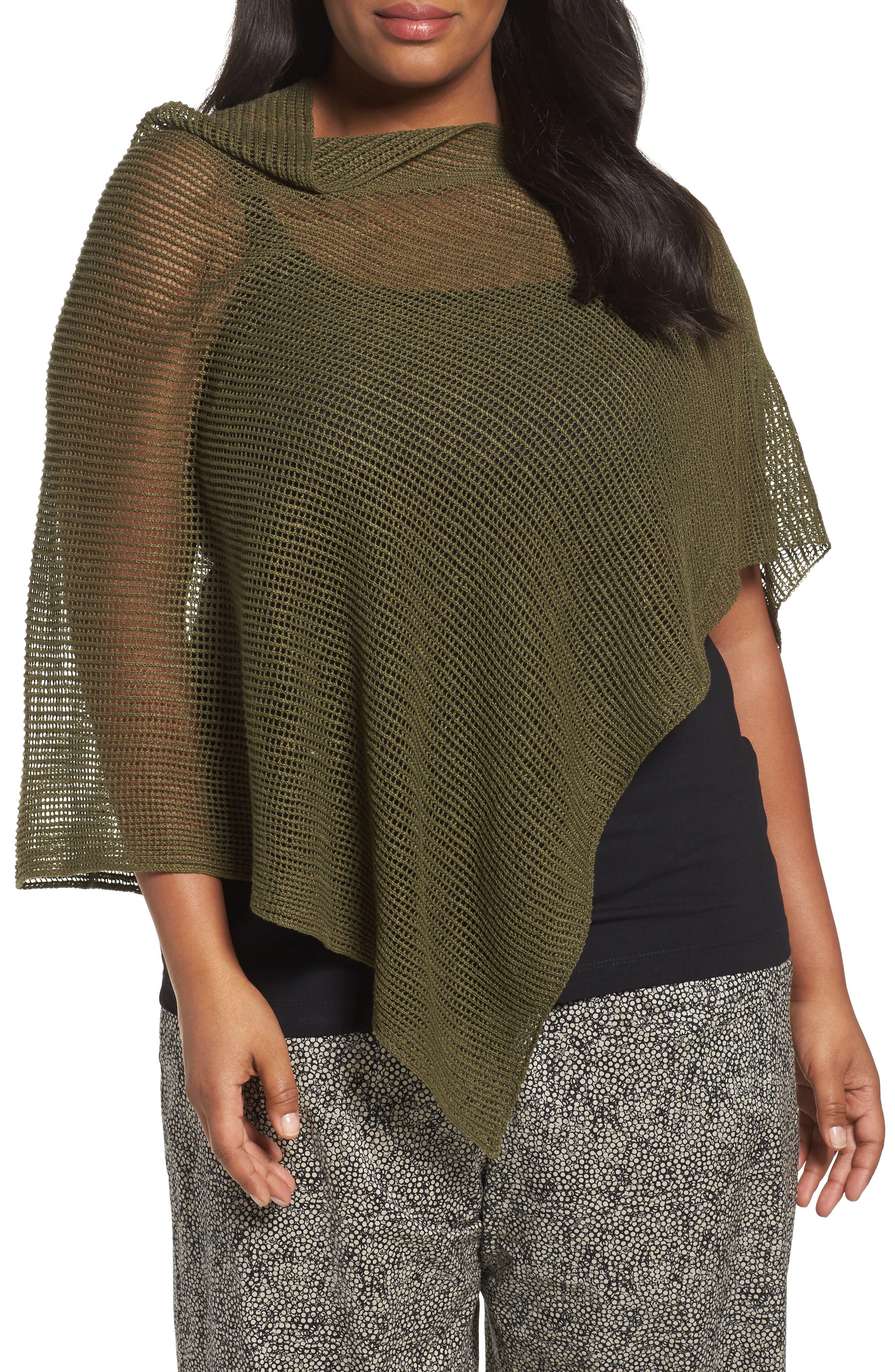 Eileen Fisher Organic Linen Mesh Knit Poncho (Plus Size)