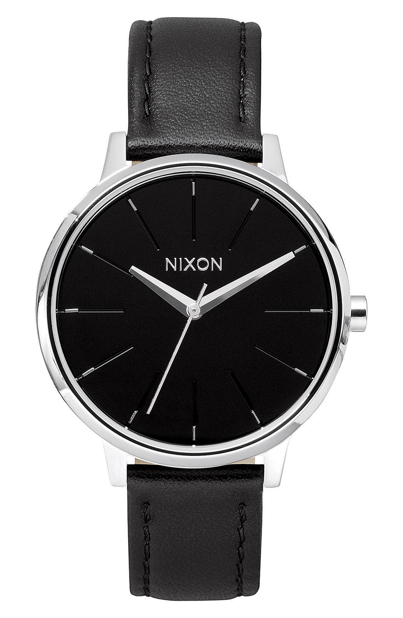 'The Kensington' Leather Strap Watch, 37mm,                         Main,                         color, Black/ Silver