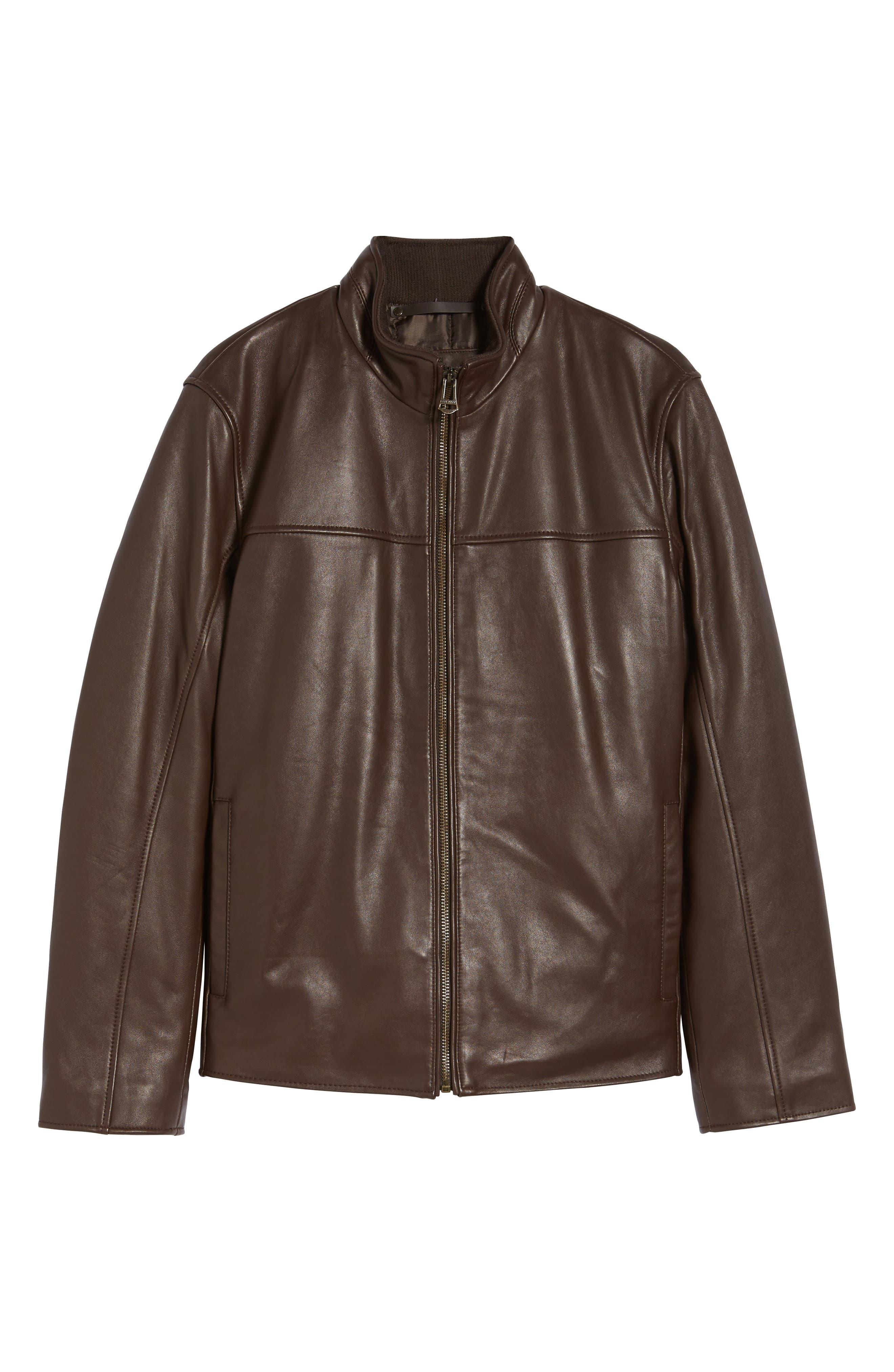 Alternate Image 6  - Cole Haan Lambskin Leather Moto Jacket